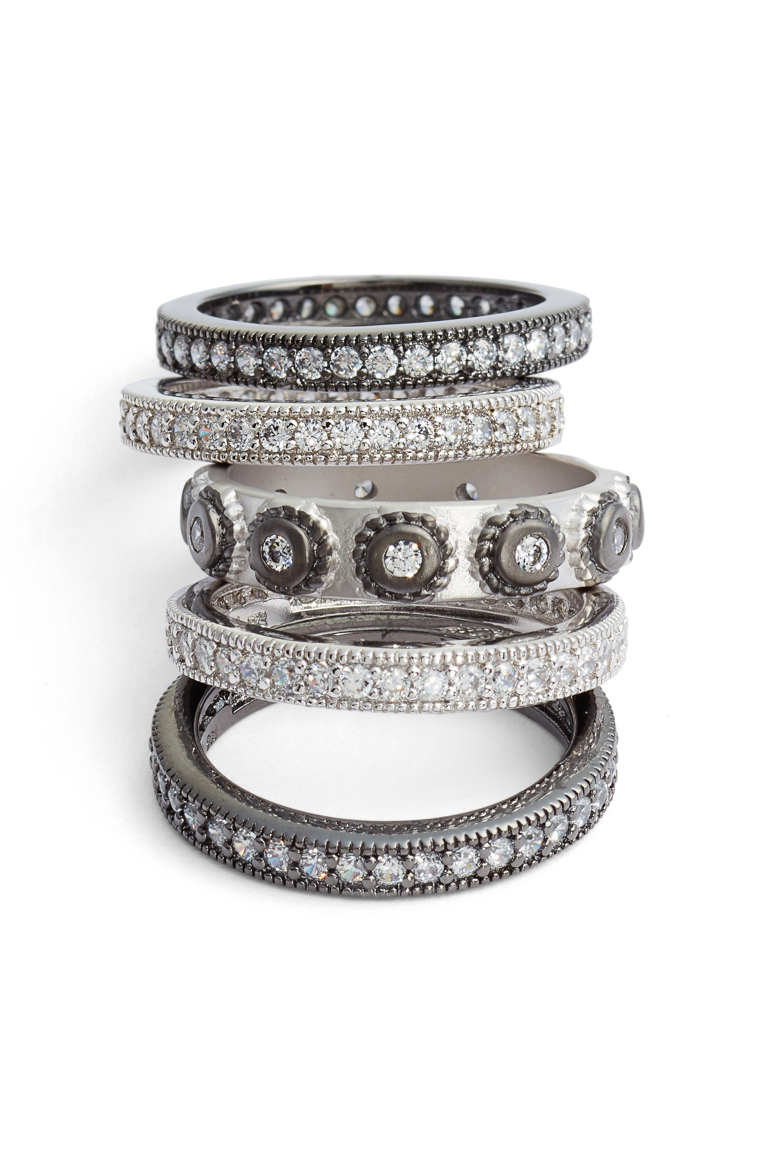 'Contemporary Deco' Stacking Rings,                             Alternate thumbnail 3, color,                             SILVER/ BLACK