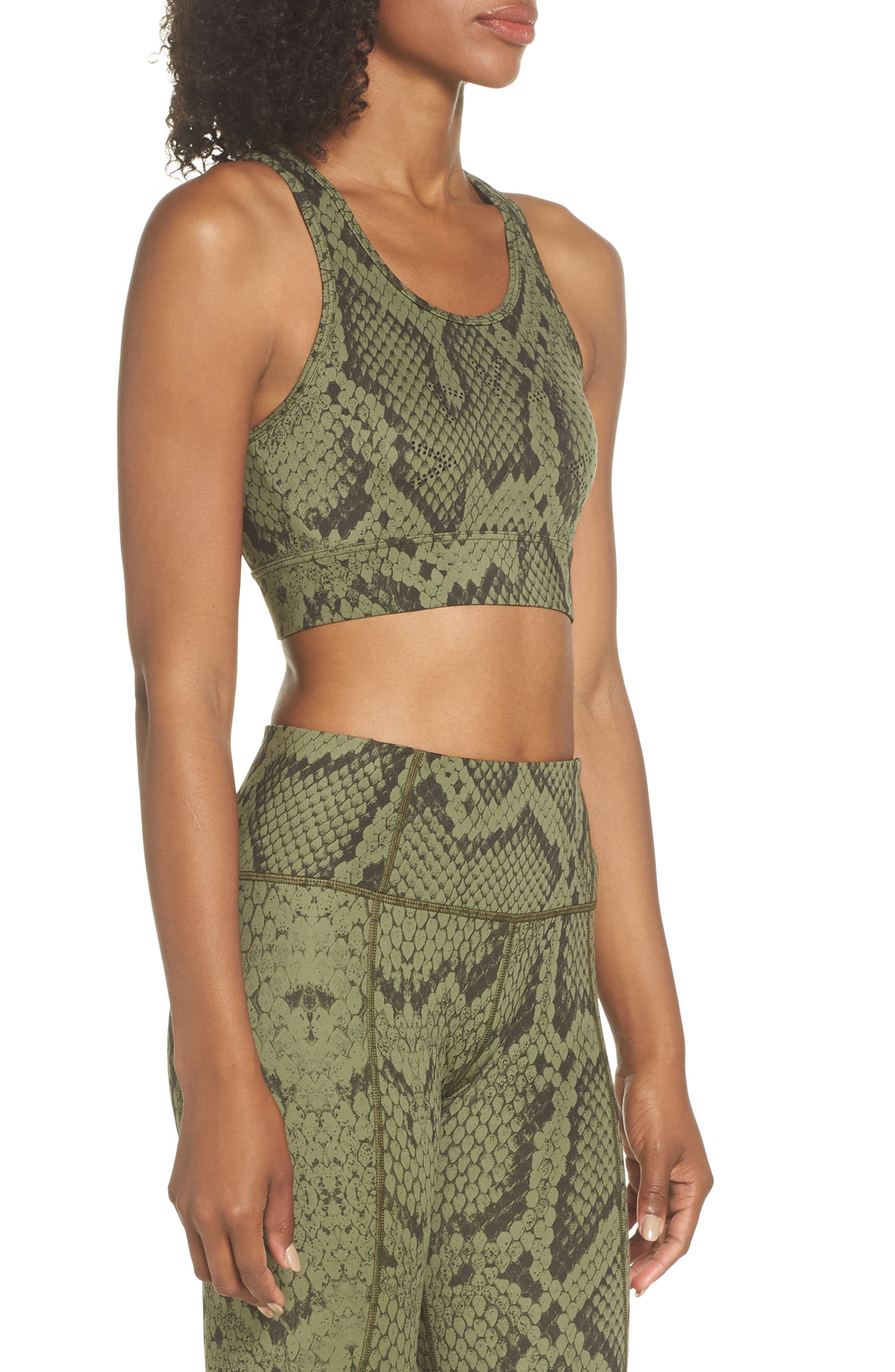 Berkeley Sports Bra,                             Alternate thumbnail 3, color,                             OLIVE SNAKE