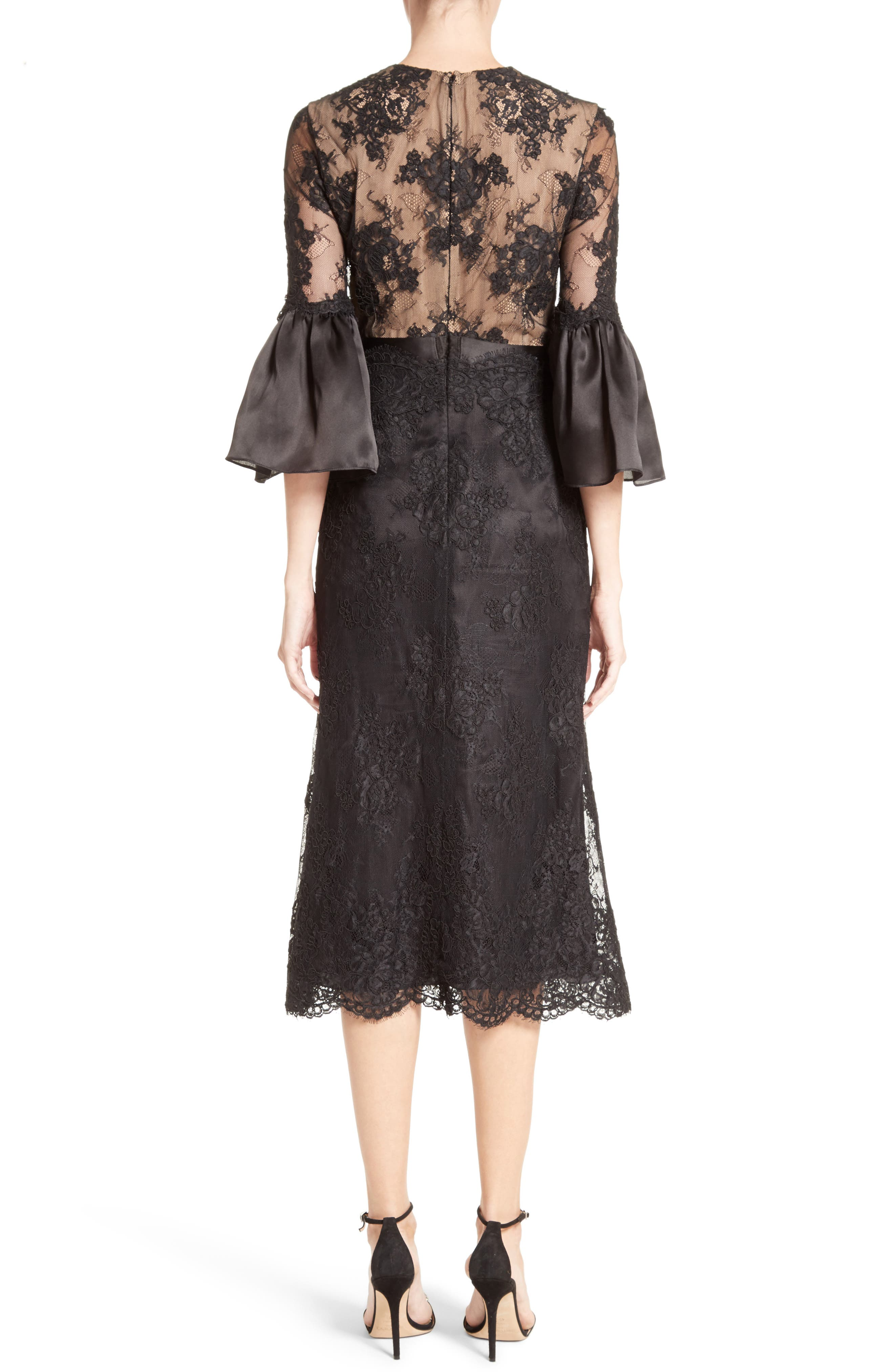 Bell Sleeve Lace Midi Dress,                             Alternate thumbnail 2, color,                             001
