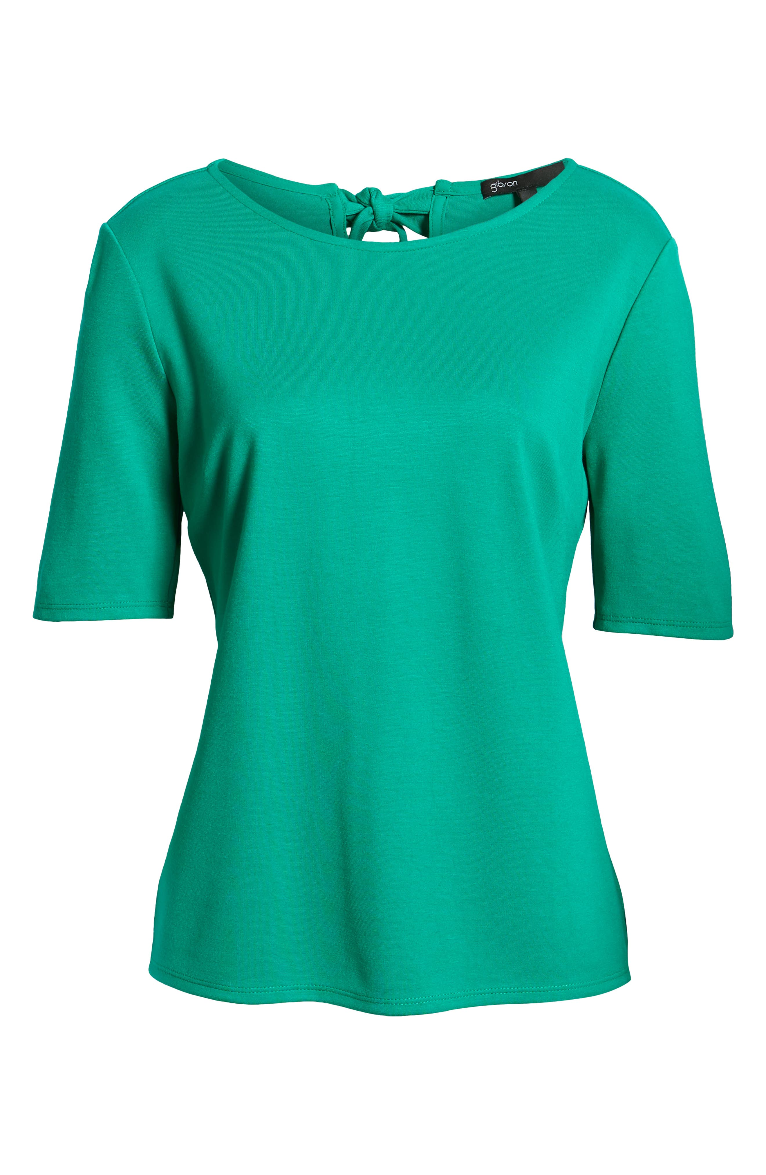 GIBSON,                             x International Women's Day Thamarr Keyhole Tie Back Ponte Top,                             Alternate thumbnail 6, color,                             GREEN