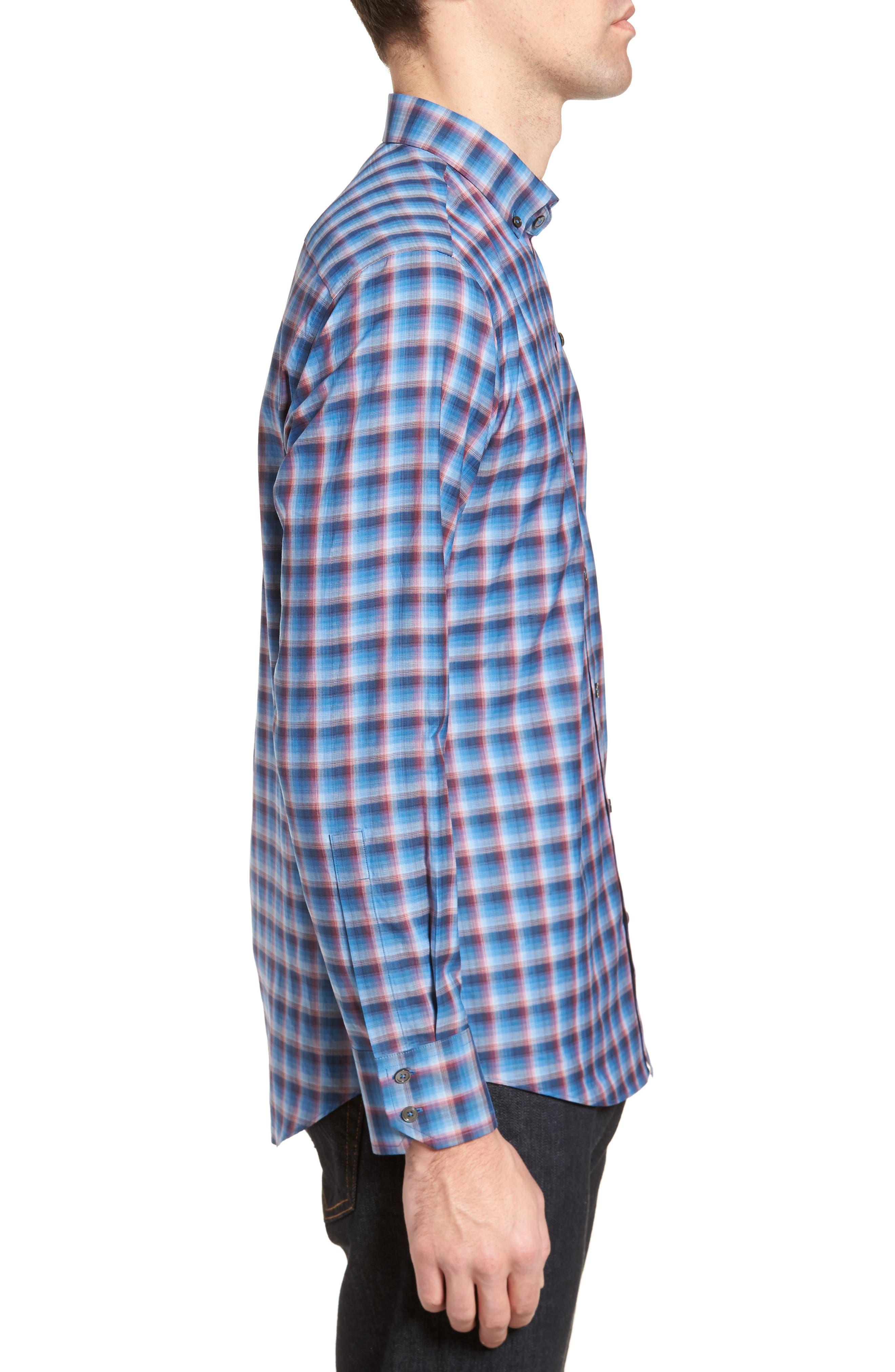 Pinker Plaid Sport Shirt,                             Alternate thumbnail 3, color,                             401