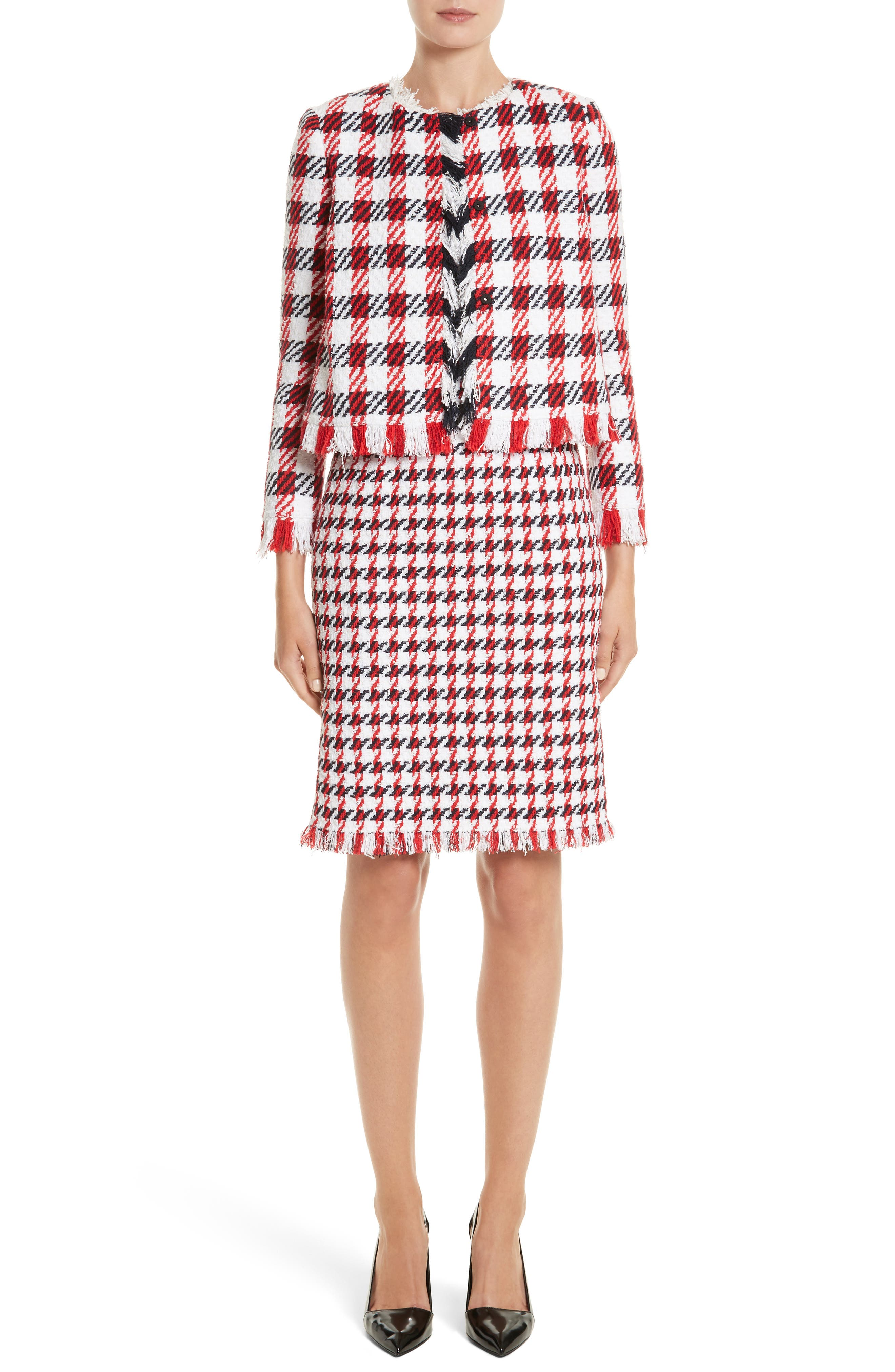 Bicolor Houndstooth Tweed Dress,                             Alternate thumbnail 7, color,