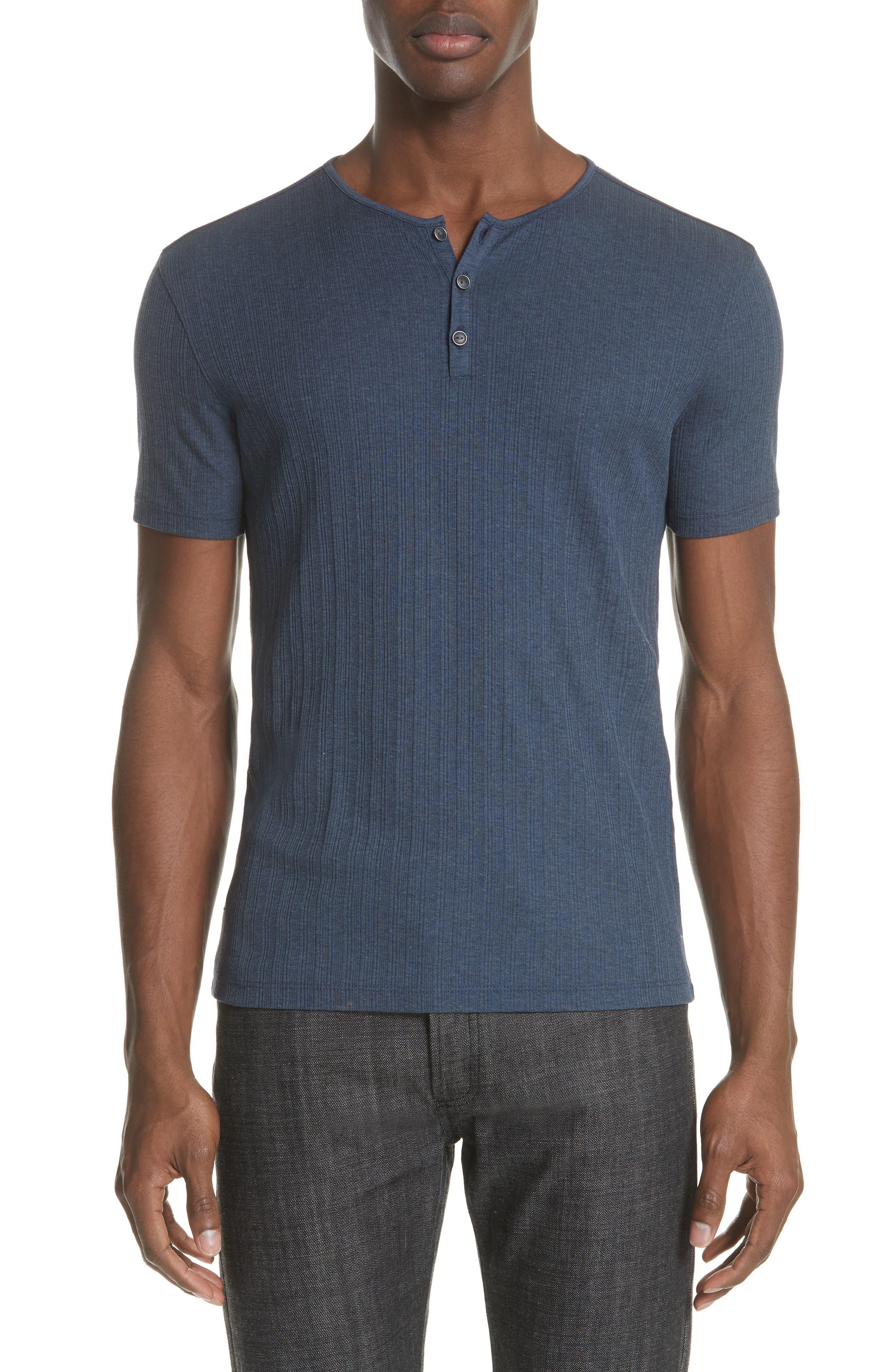 Rib Henley T-Shirt,                         Main,                         color, ATLANTIC BLUE