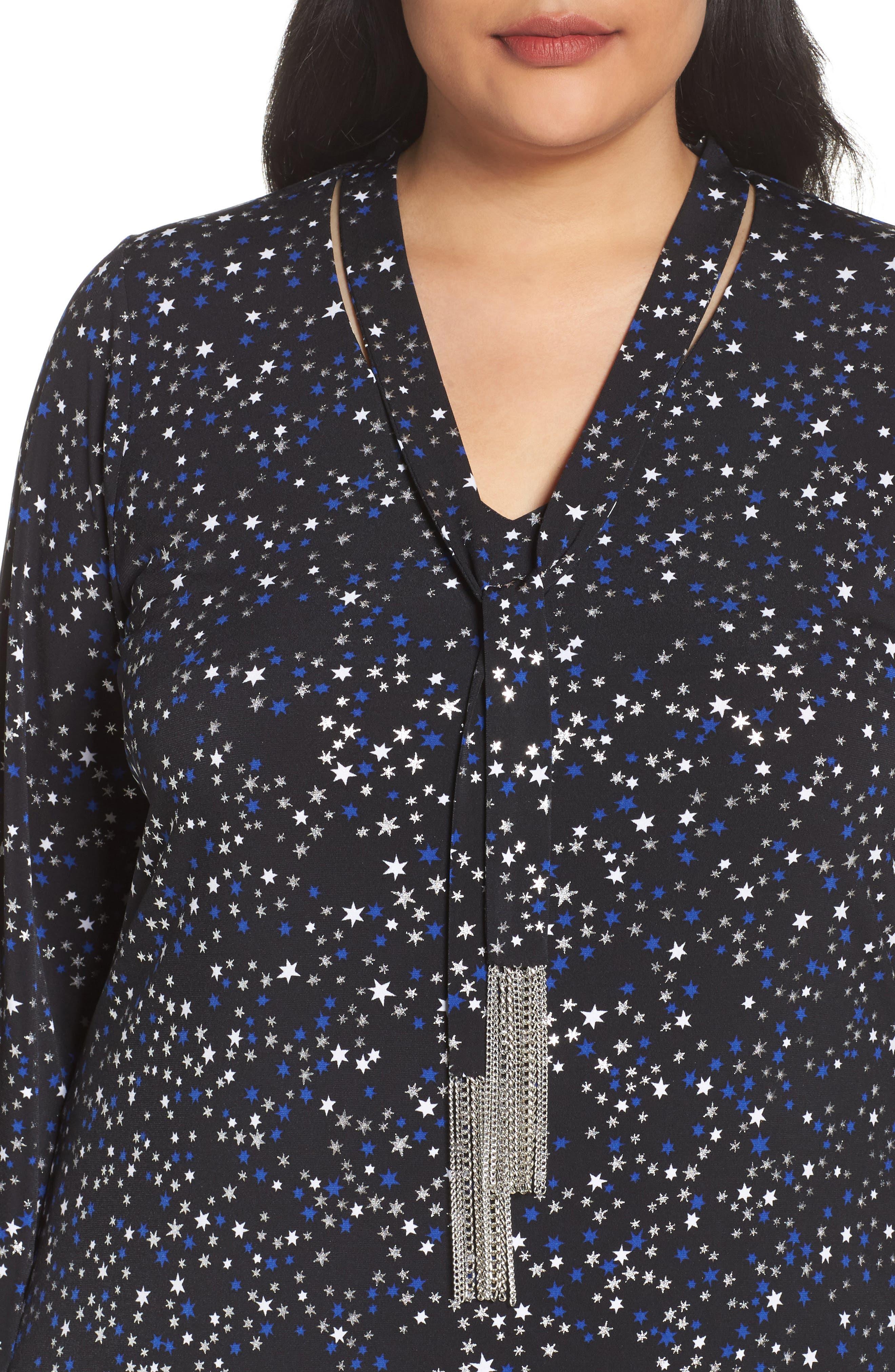 Foil Star A-Line Dress,                             Alternate thumbnail 4, color,
