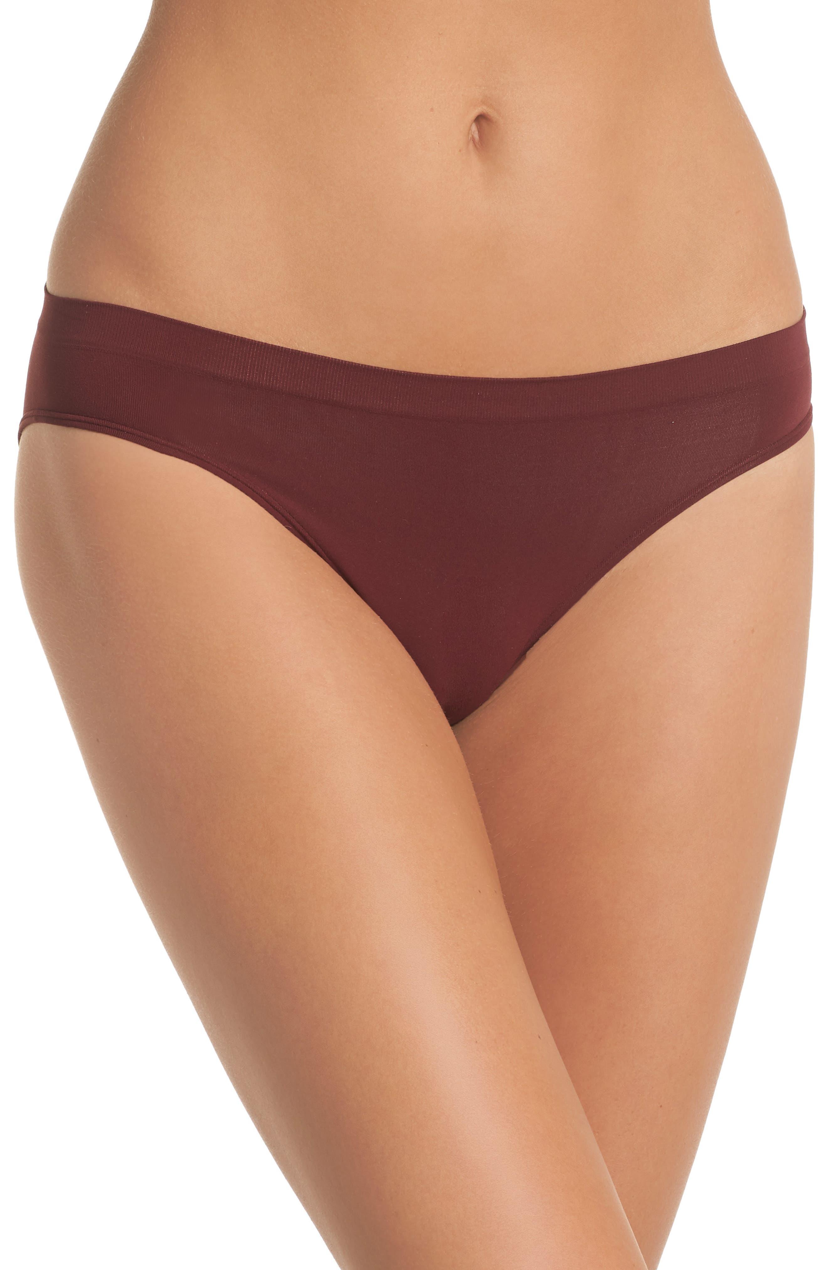 Seamless Bikini,                         Main,                         color, RED TANNIN