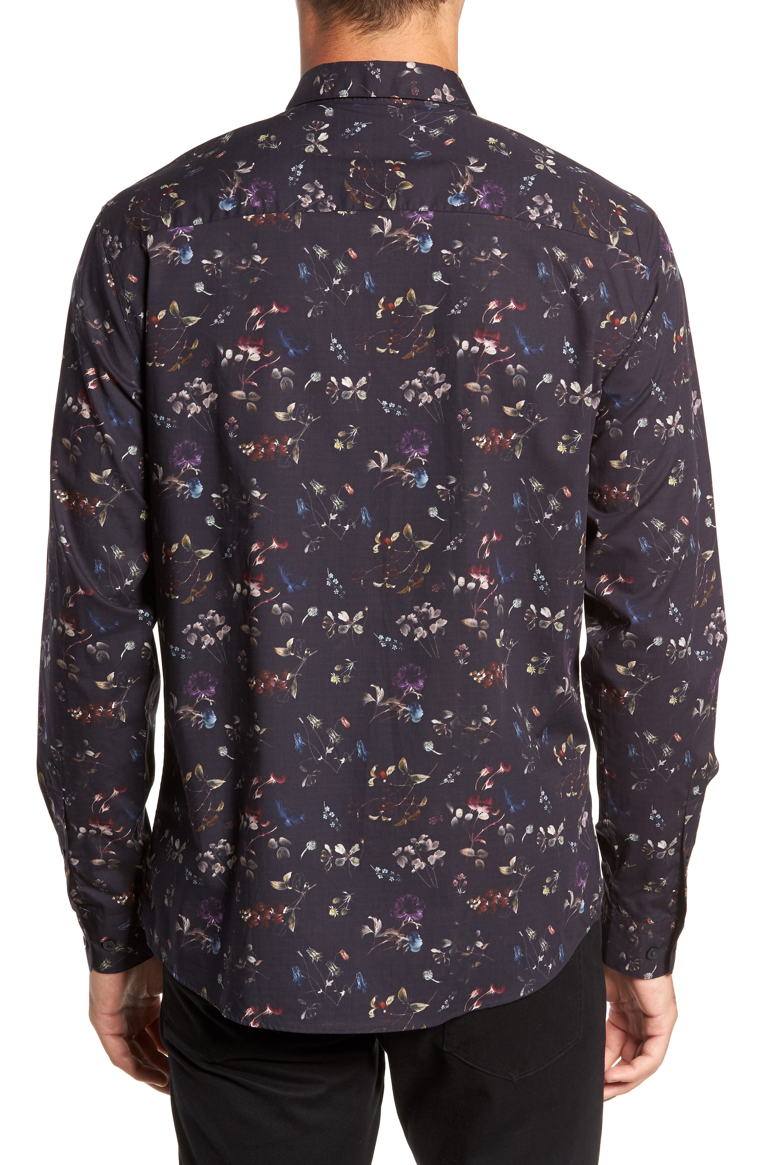Primus Slim Fit Floral Print Sport Shirt,                             Alternate thumbnail 3, color,                             DARK NAVY