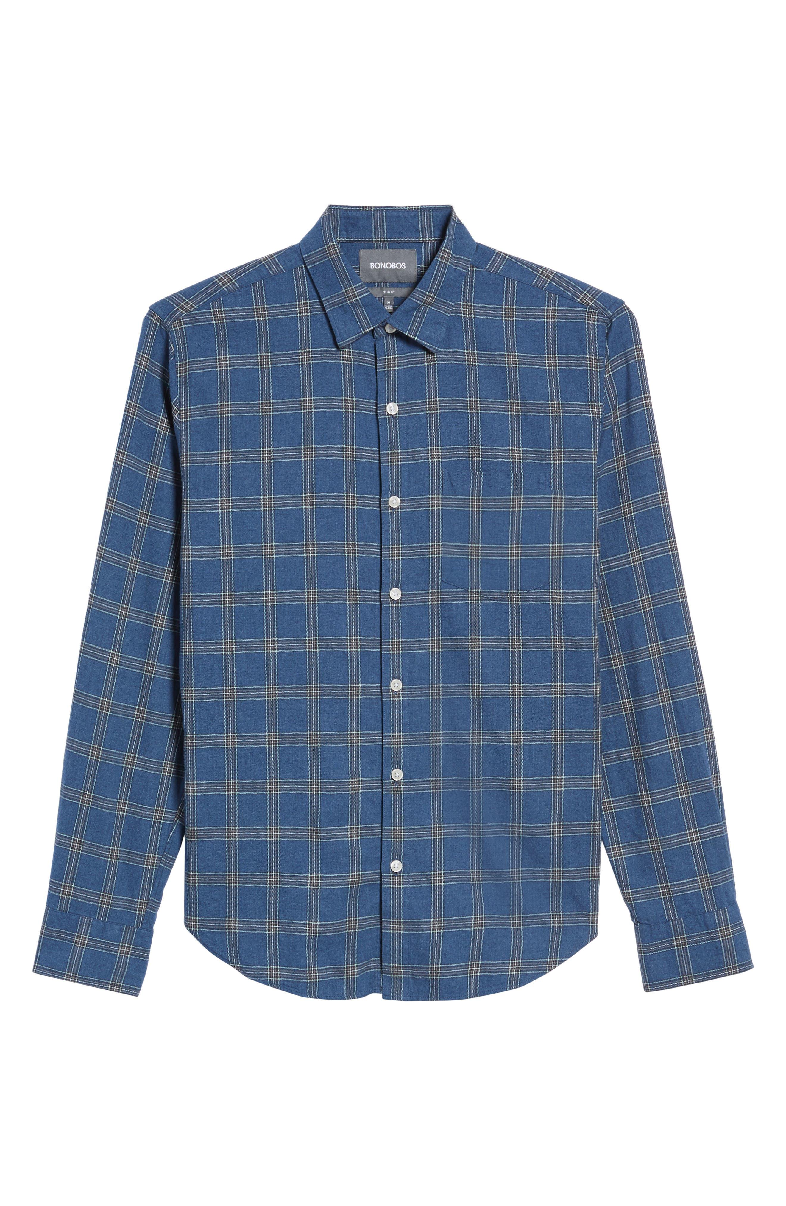 Slim Fit Plaid Twill Sport Shirt,                             Alternate thumbnail 6, color,