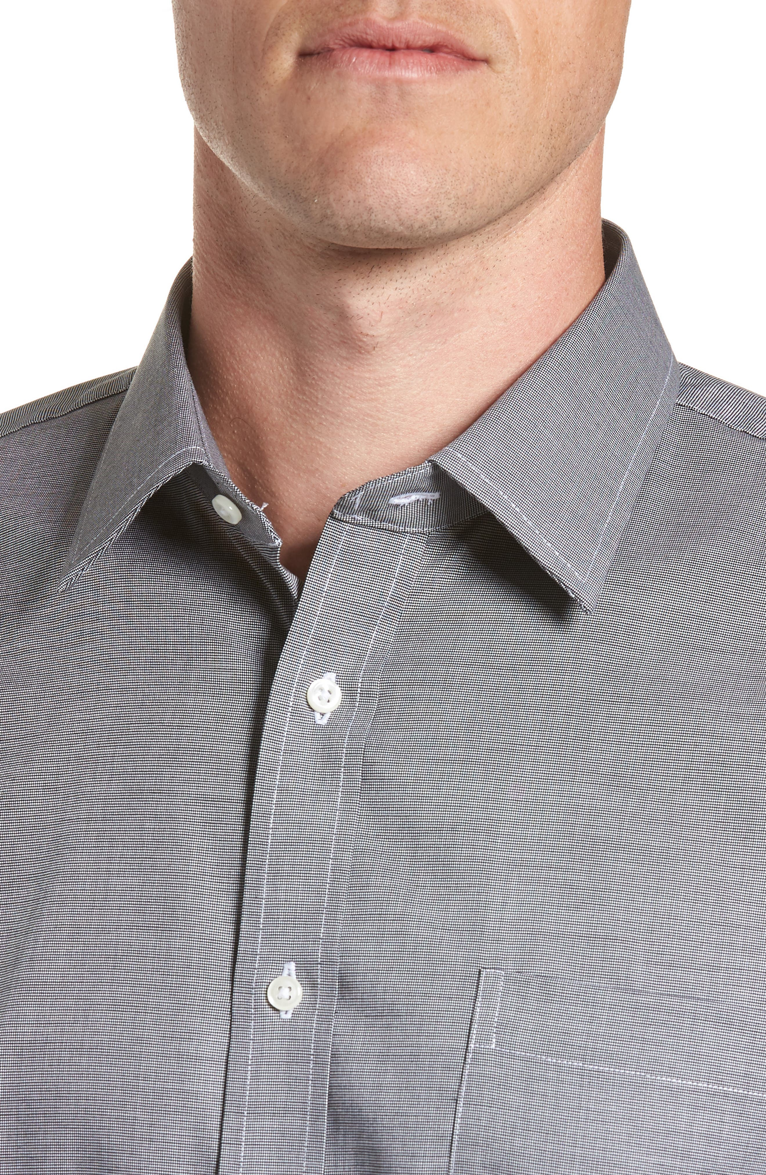 Trim Fit Non-Iron Dress Shirt,                             Alternate thumbnail 2, color,                             BLACK ROCK