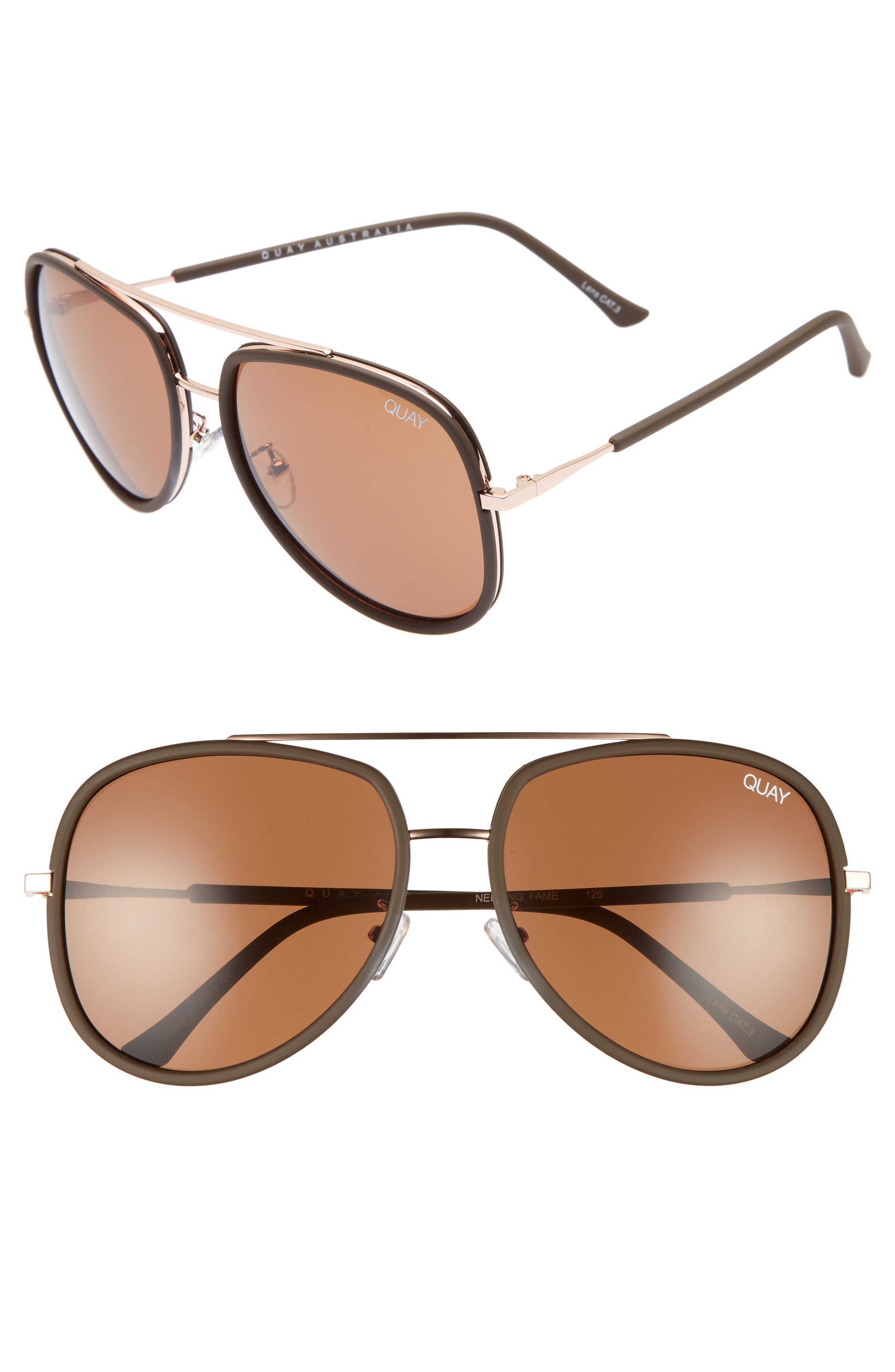 'Needing Fame' 65mm Aviator Sunglasses, Main, color, 201