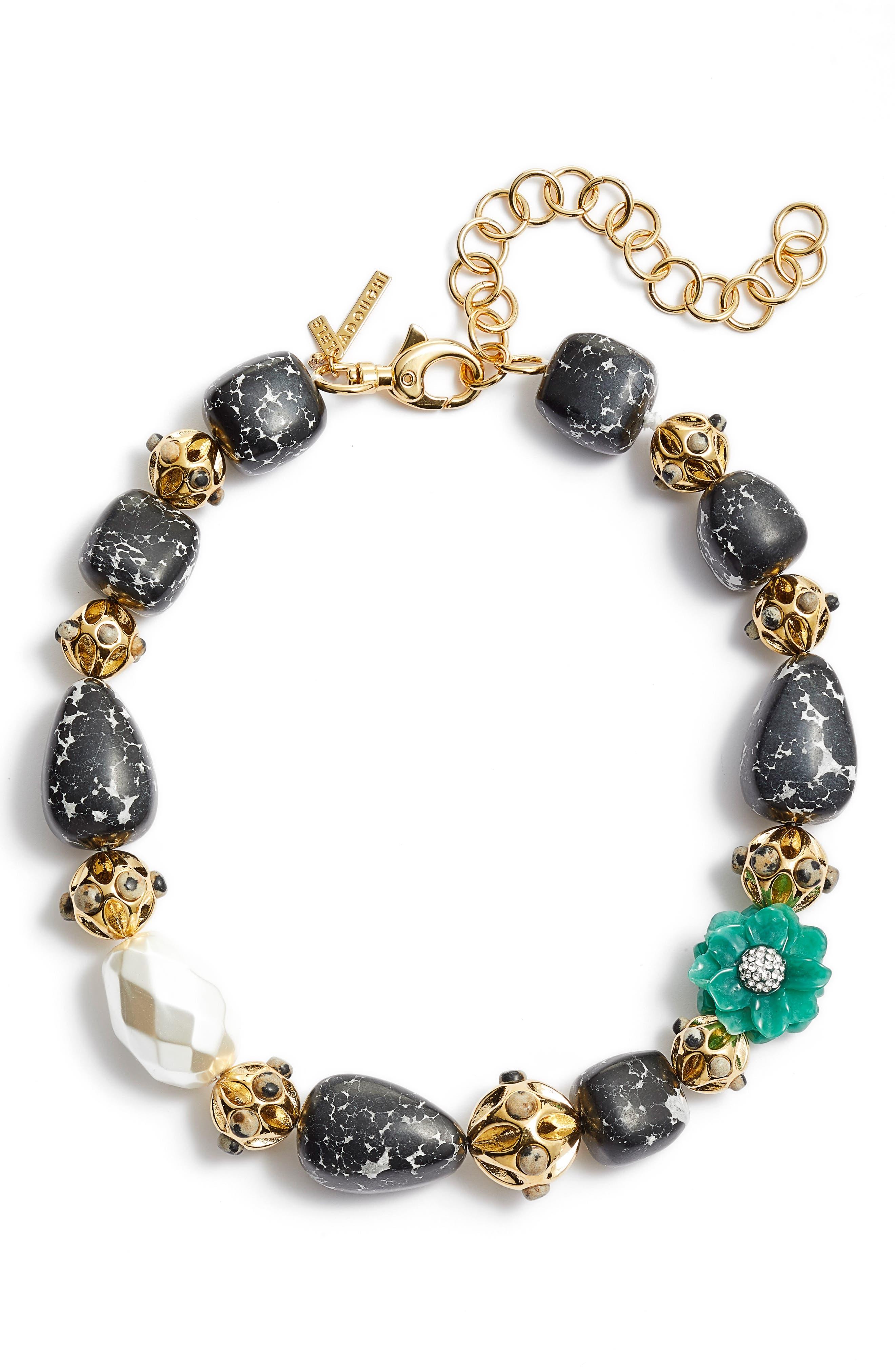 Keepsake Stone Collar Necklace,                             Main thumbnail 1, color,                             EMERALD