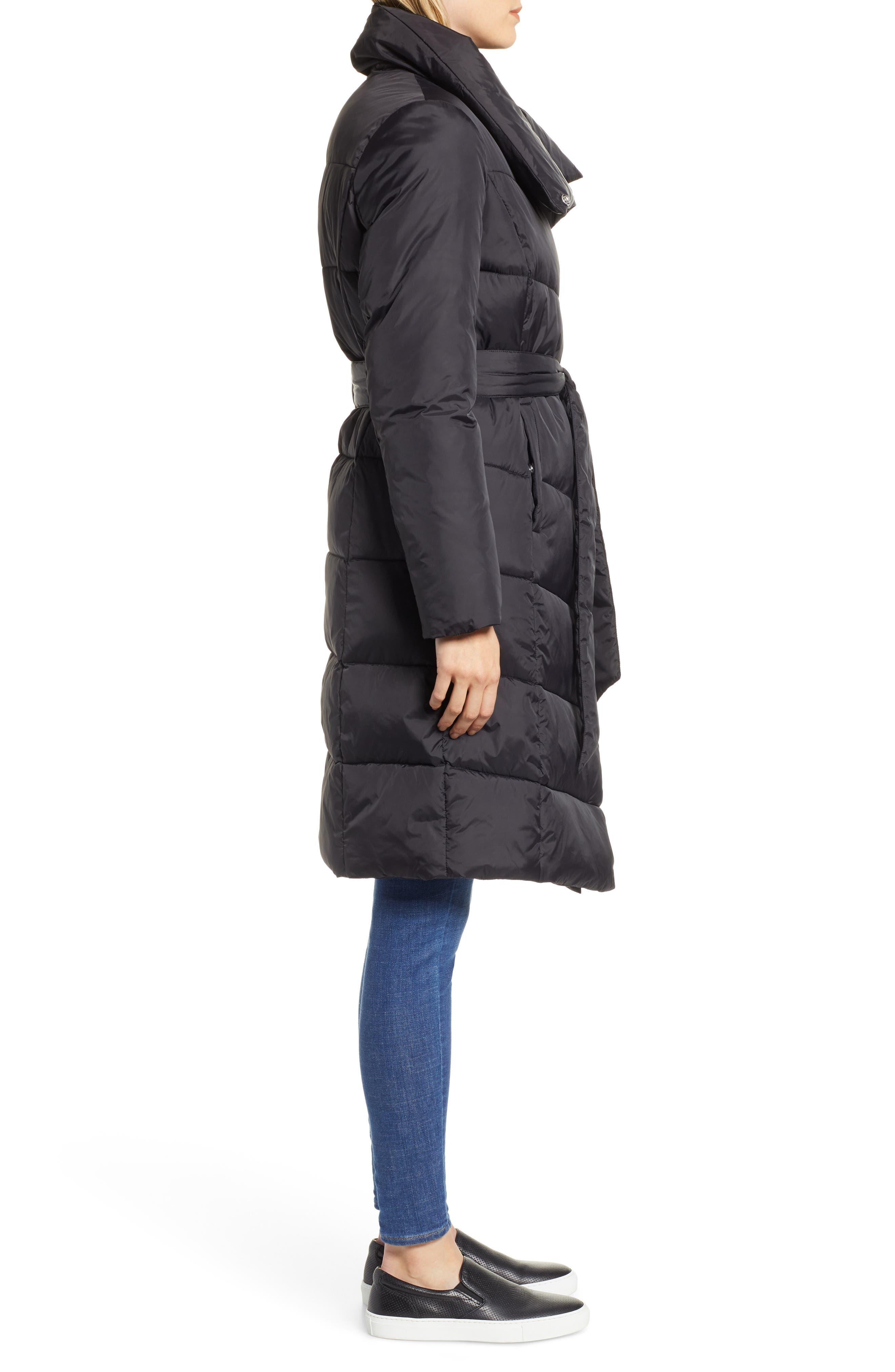 Long Puffer Coat,                             Alternate thumbnail 3, color,                             BLACK