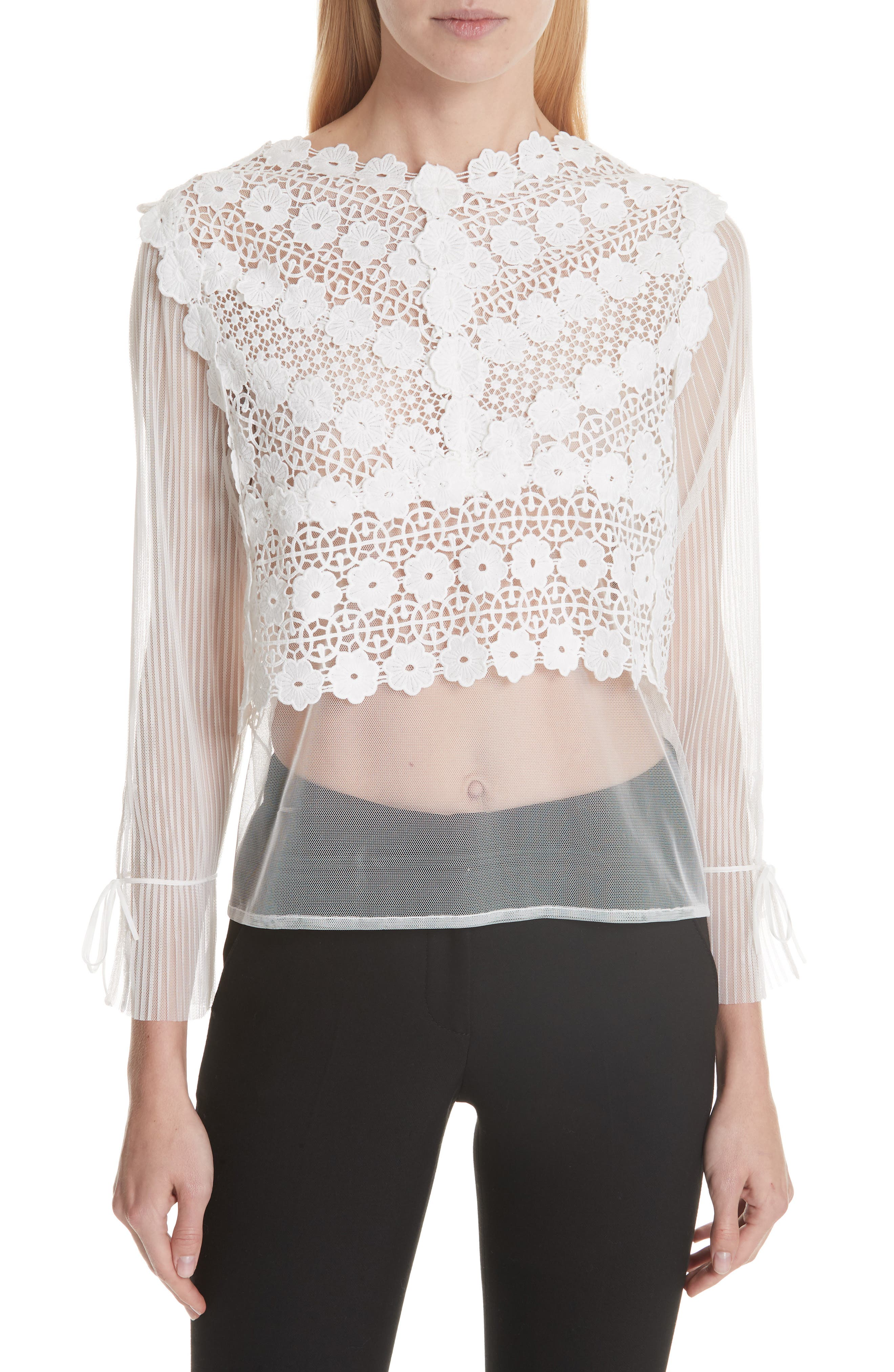 Tulle Lace Top,                             Main thumbnail 1, color,                             100