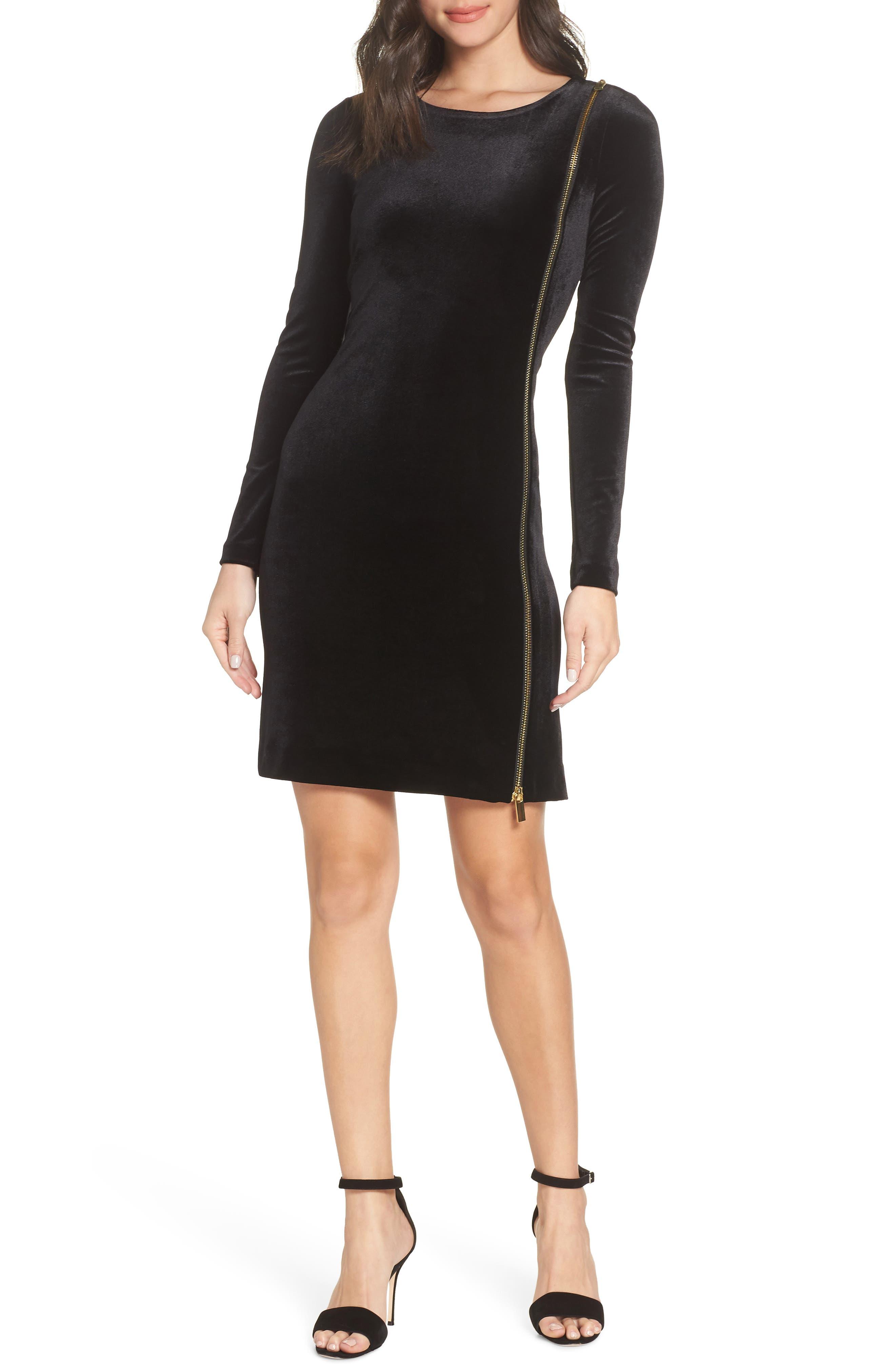 French Connection Zella Aurore Velvet Jersey Sheath Dress, Black