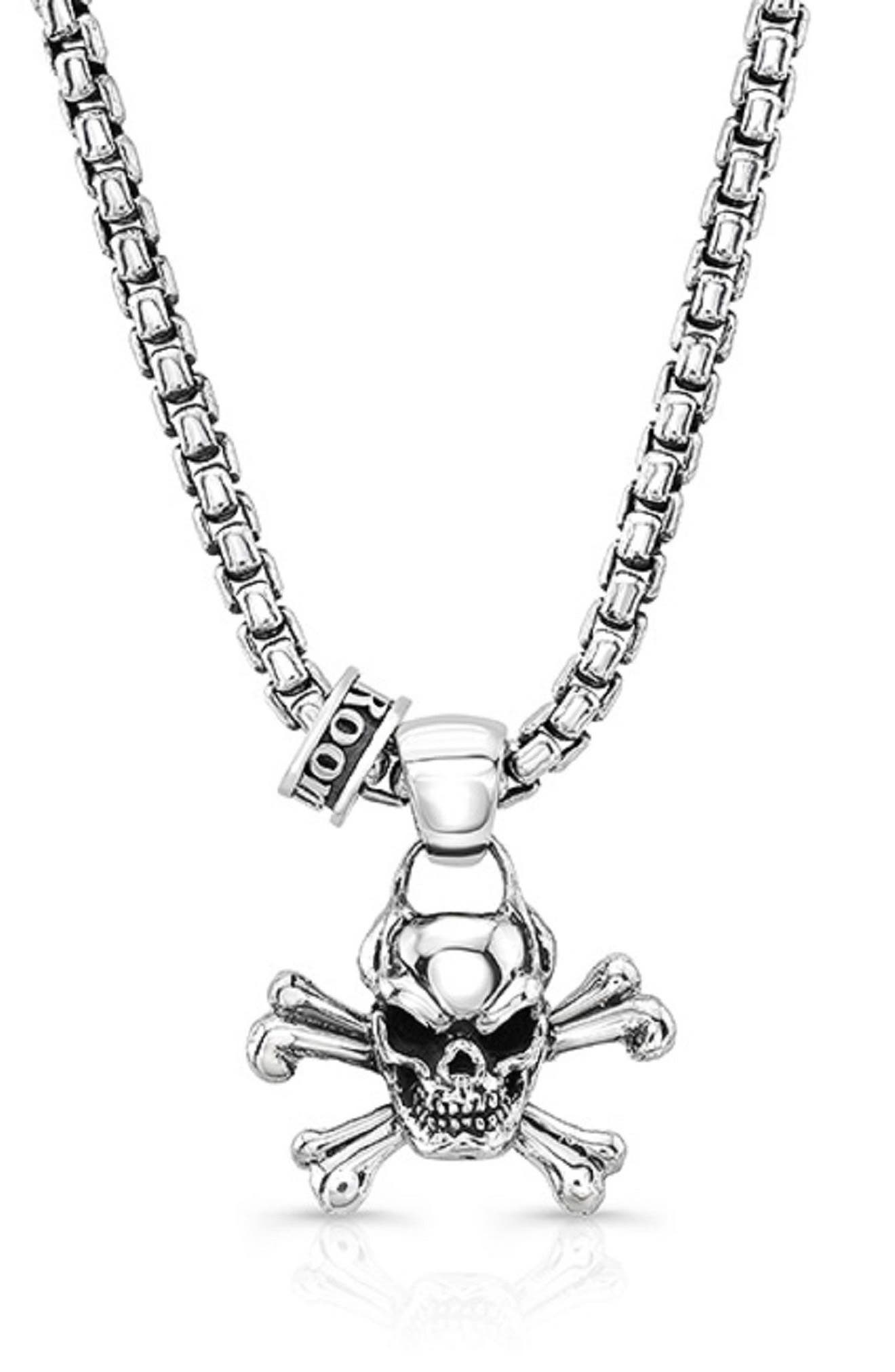 Skull 'n' Bone Pendant Necklace,                             Main thumbnail 1, color,