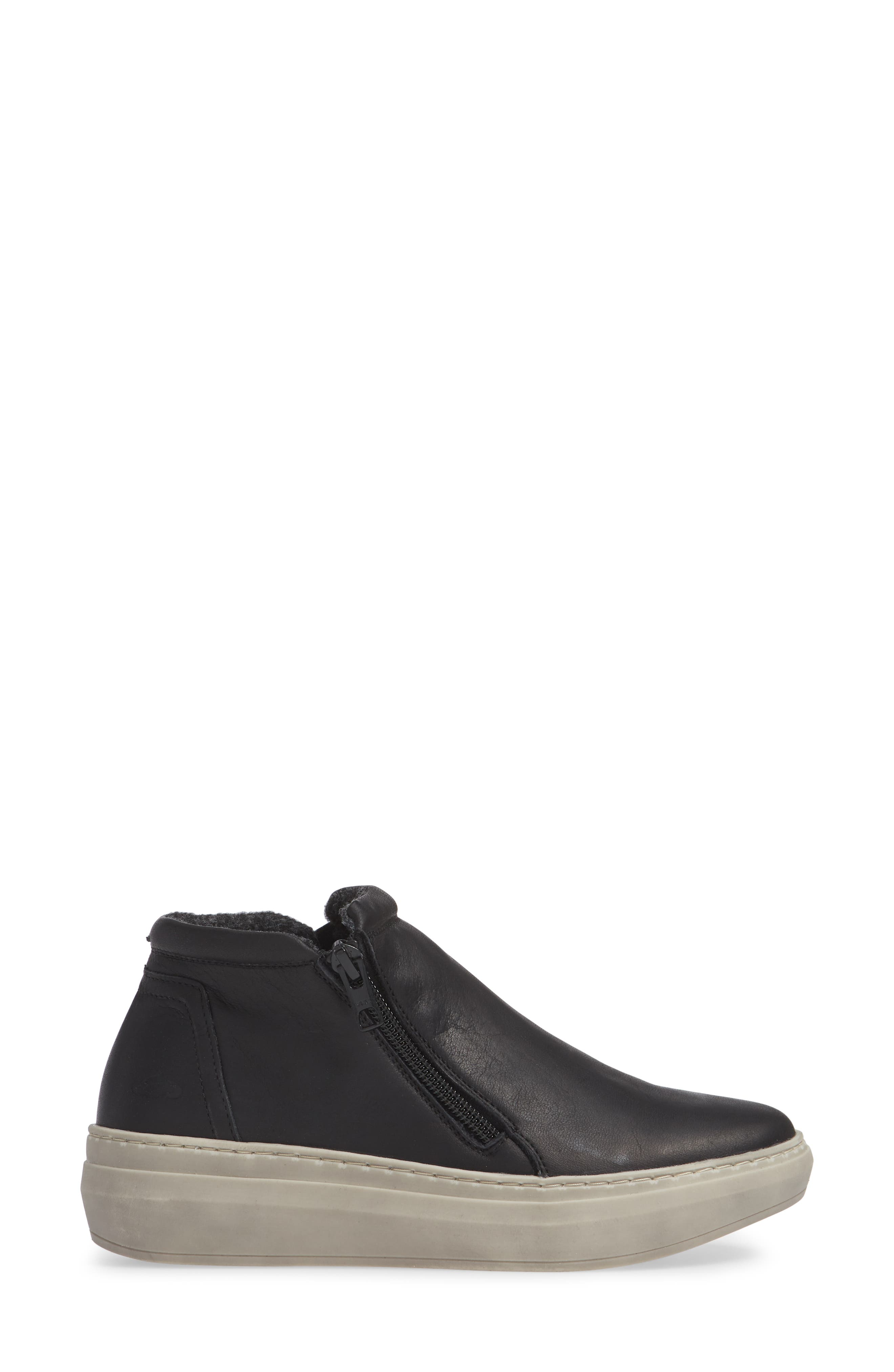 CLOUD,                             Qupid Wool Lined Sneaker,                             Alternate thumbnail 3, color,                             BLACK LEATHER