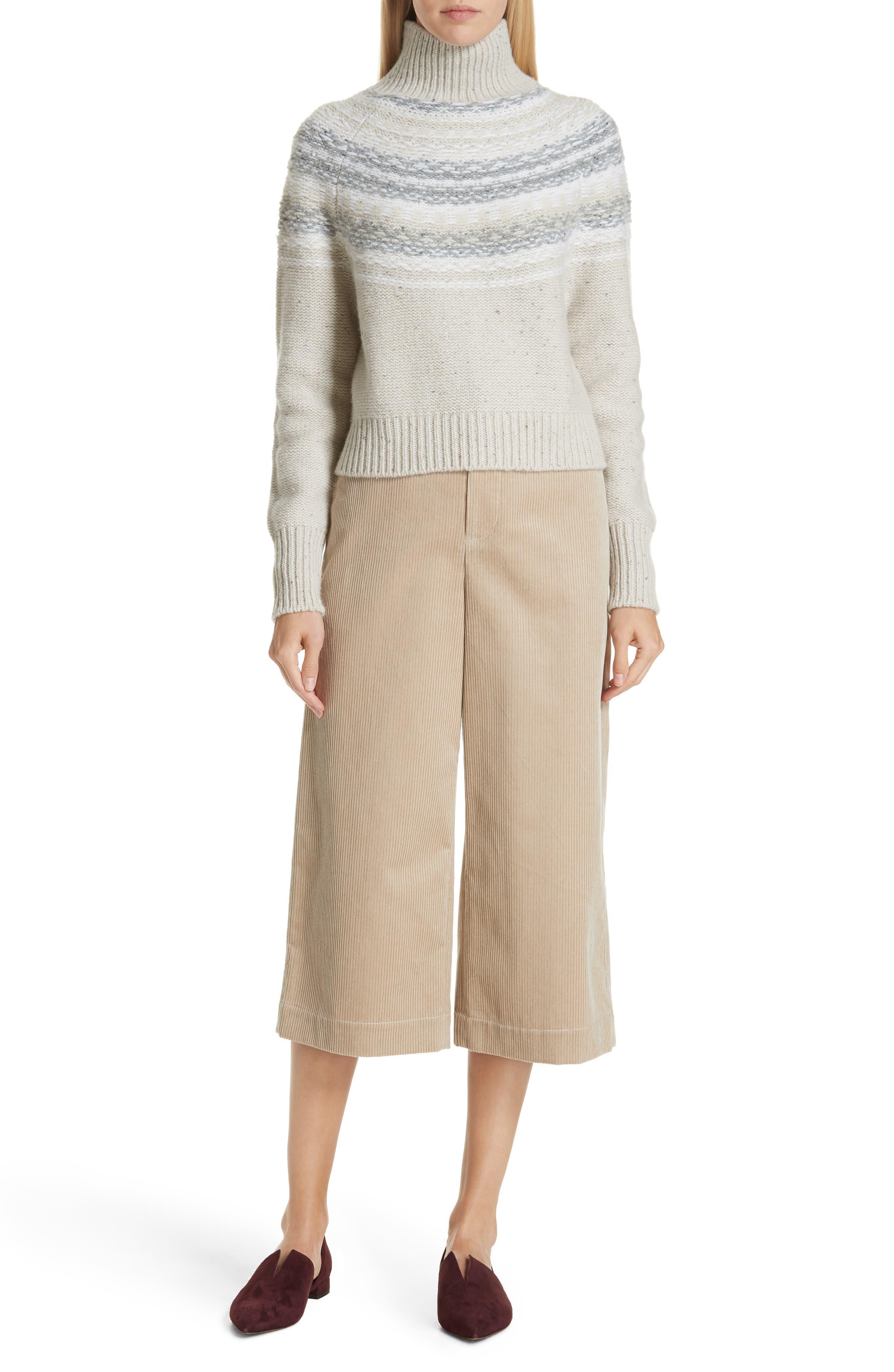 Vince Fair Isle Wool & Cashmere Crop Turtleneck Sweater, Ivory