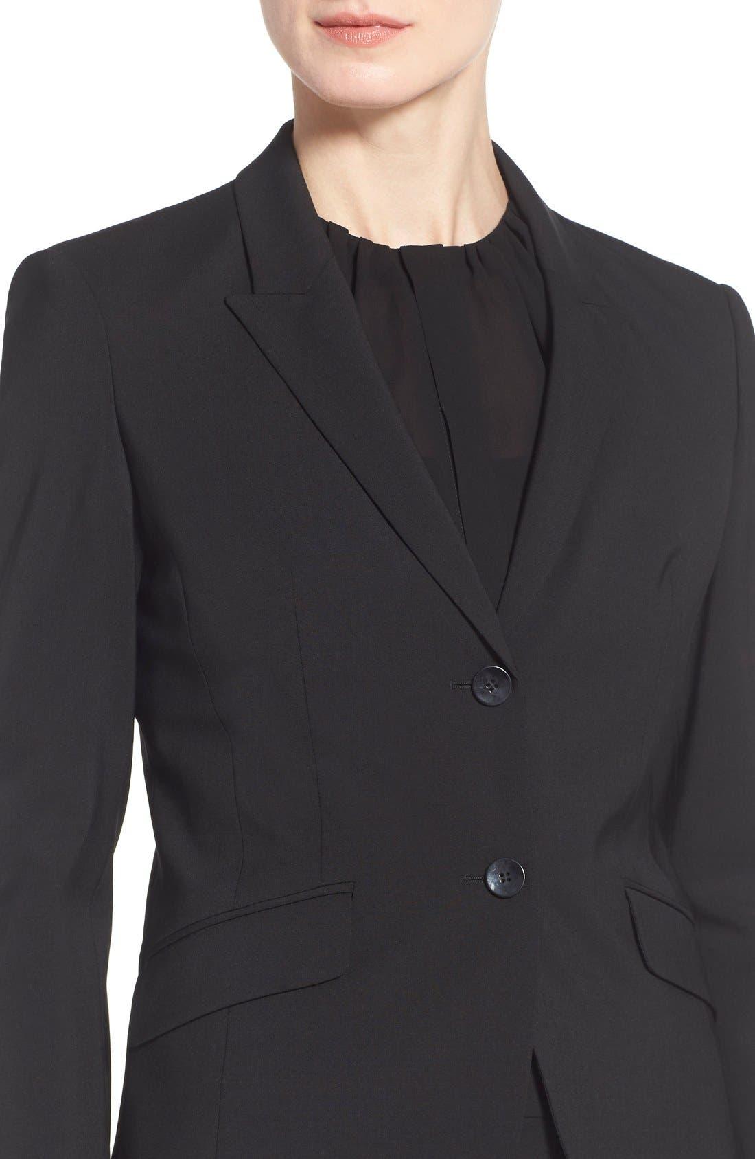 Julea Tropical Stretch Wool Jacket,                             Alternate thumbnail 5, color,                             BLACK