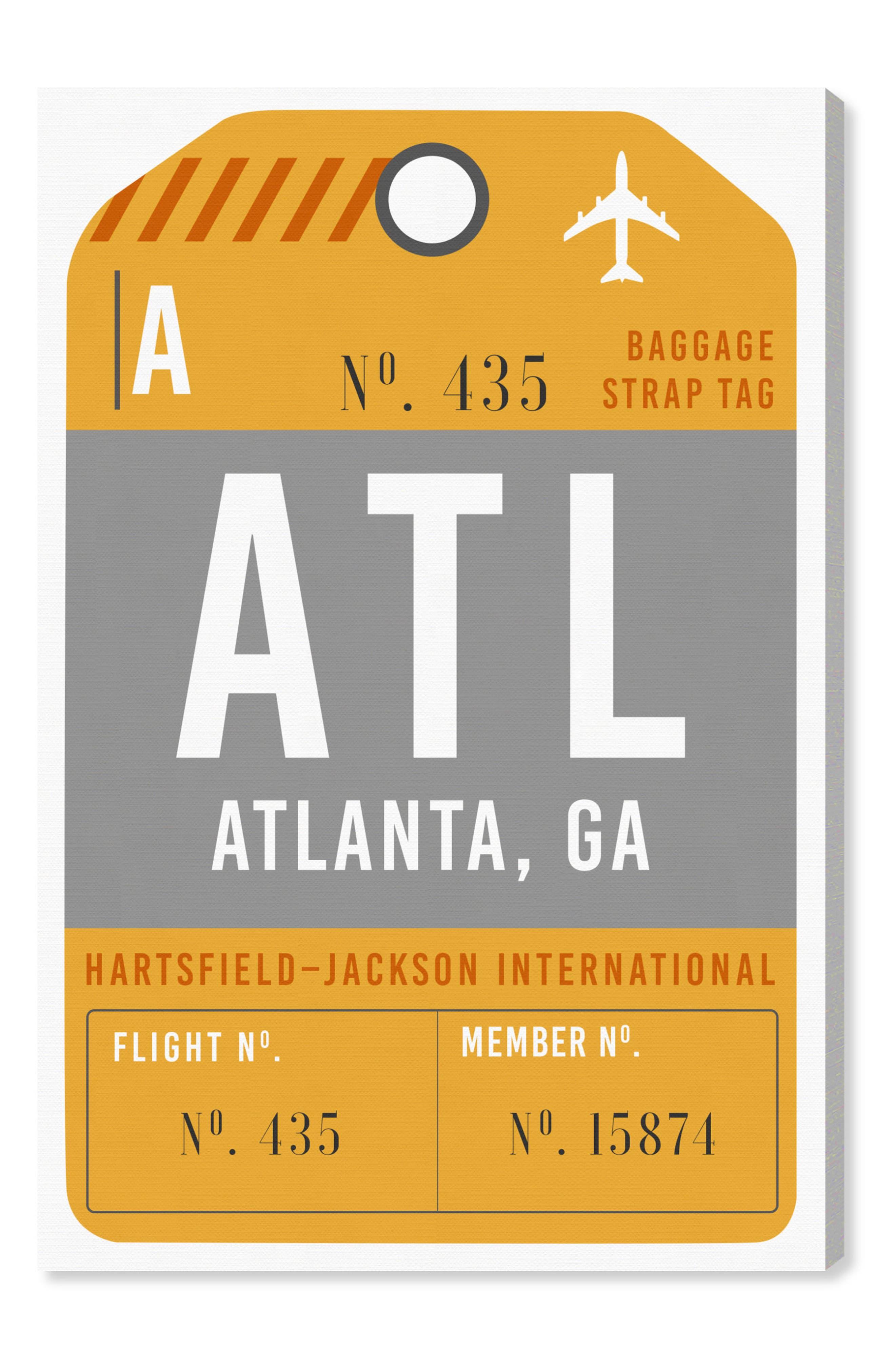 Atlanta Luggage Tag Wall Art,                         Main,                         color, ORANGE