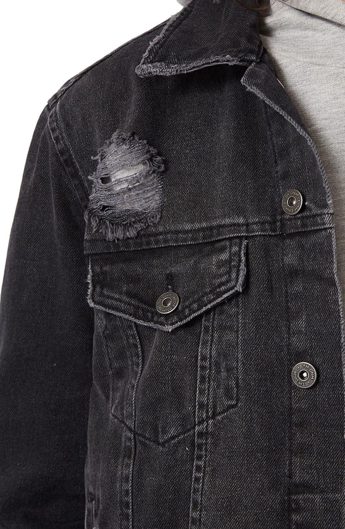 Distressed Denim Jacket,                             Alternate thumbnail 8, color,                             001