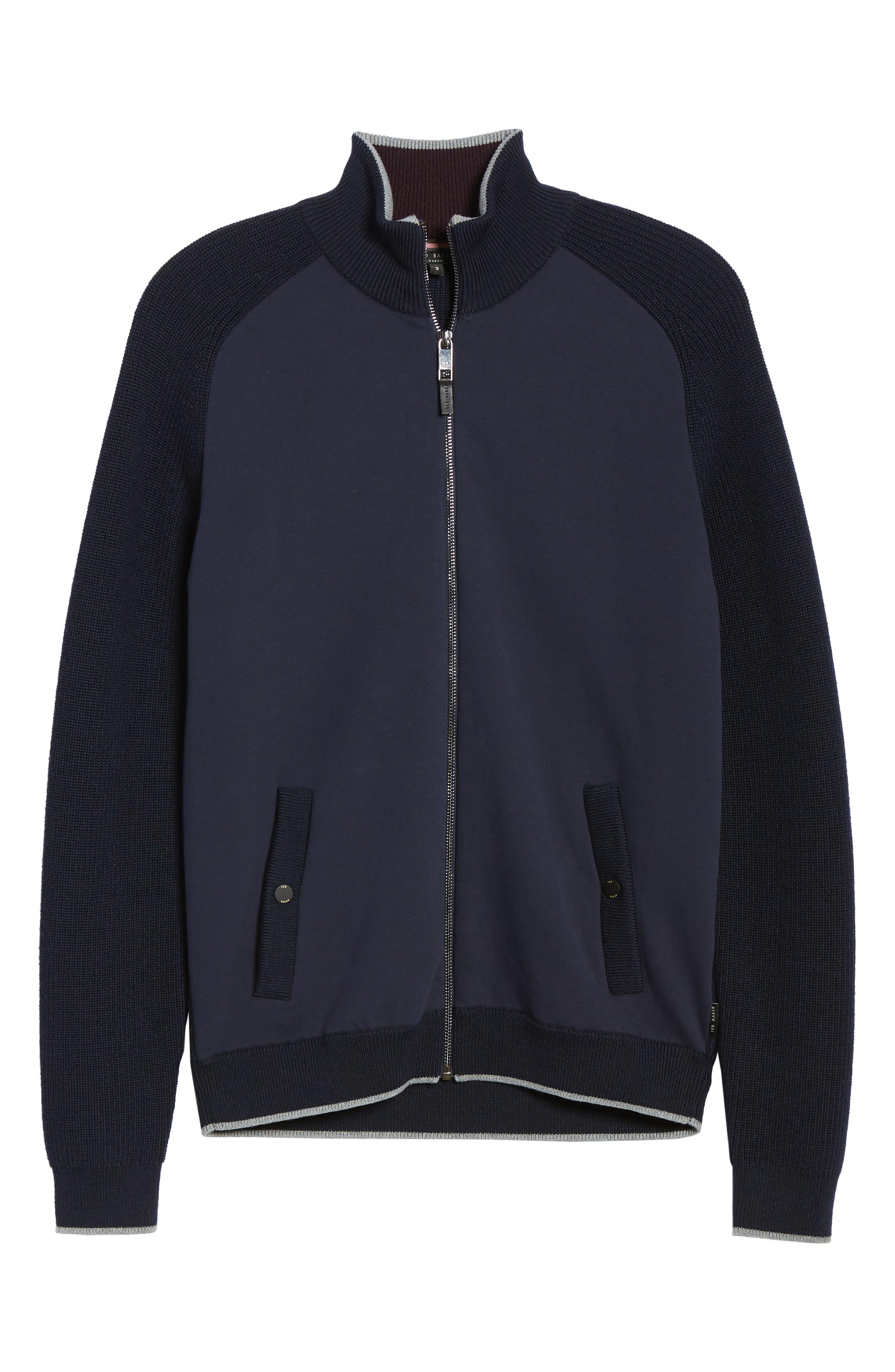 TED BAKER LONDON,                             Patrik Slim Fit Wool Zip Sweater,                             Alternate thumbnail 6, color,                             NAVY