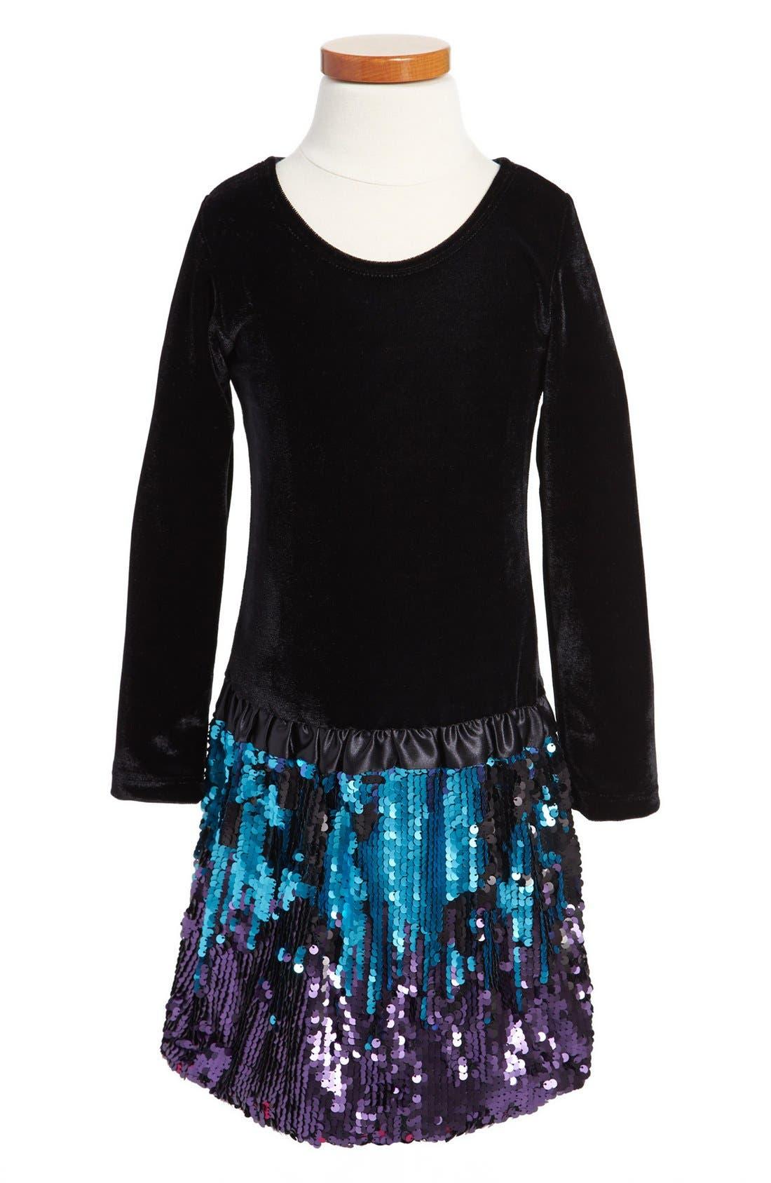 Velvet & Flip Sequins Dress,                             Main thumbnail 1, color,                             001