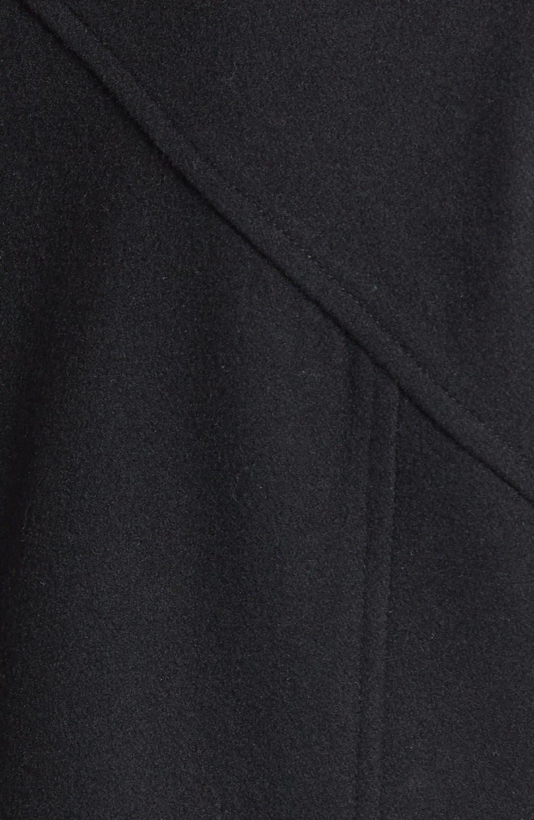SAM EDELMAN,                             'Fallon' Faux Leather Trim Asymmetrical Wool Blend Coat,                             Alternate thumbnail 3, color,                             001