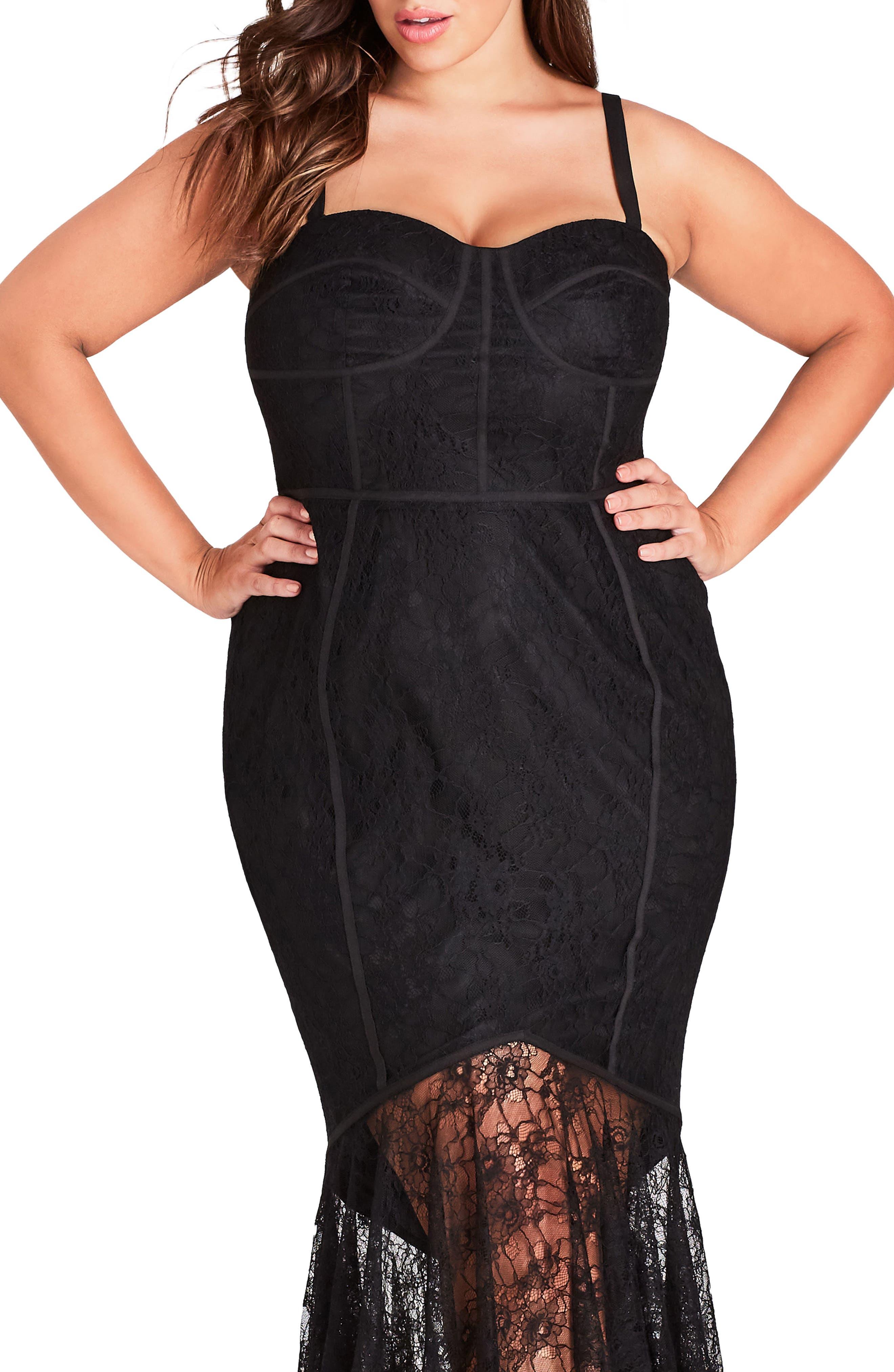 So Seductive Ruffle Hem Lace Body-Con Dress,                             Alternate thumbnail 3, color,                             BLACK
