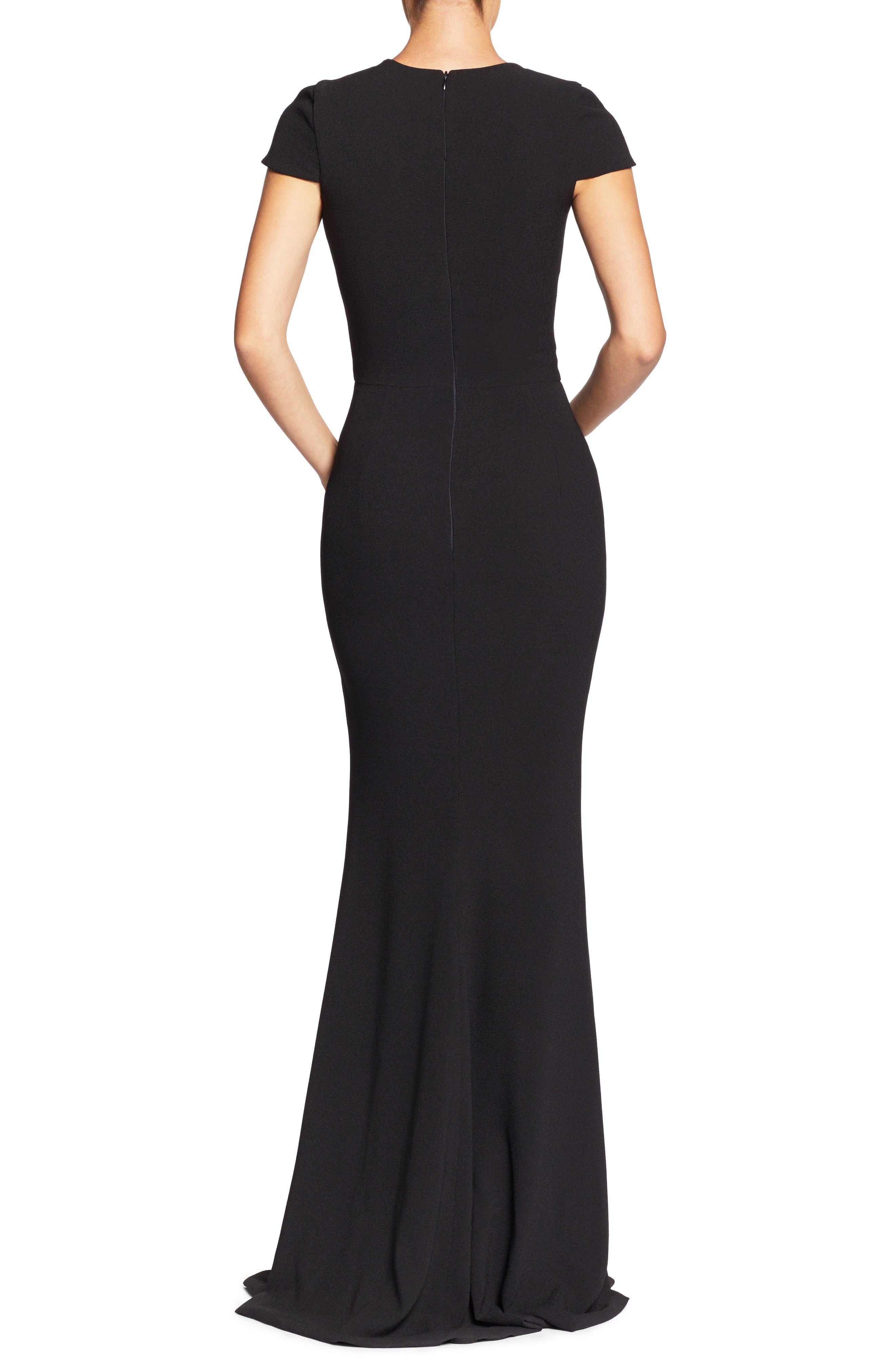 Leah Illusion Inset Crepe Gown,                             Alternate thumbnail 2, color,                             BLACK