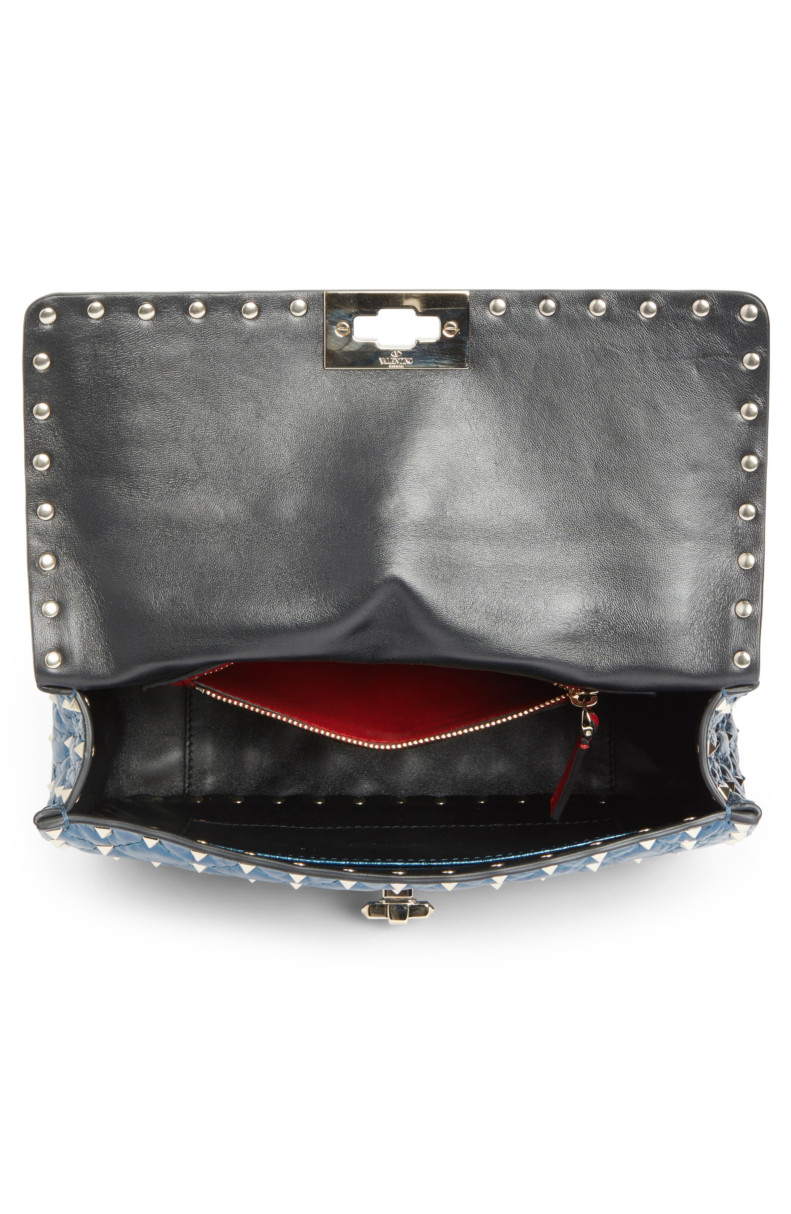 Medium Rockstud Spike Lambskin Shoulder Bag,                             Alternate thumbnail 4, color,