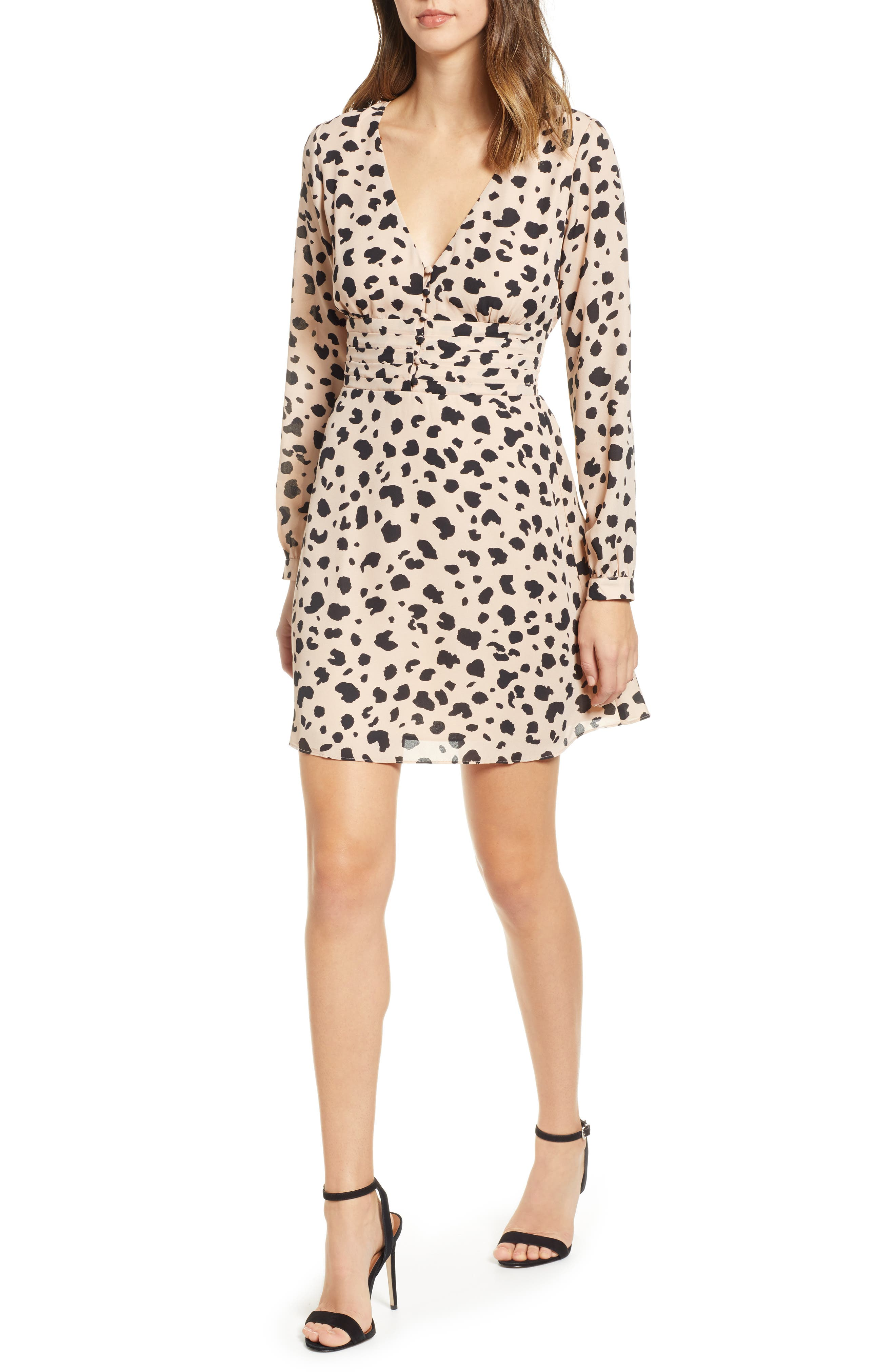 Socialite Print Button Dress, Black