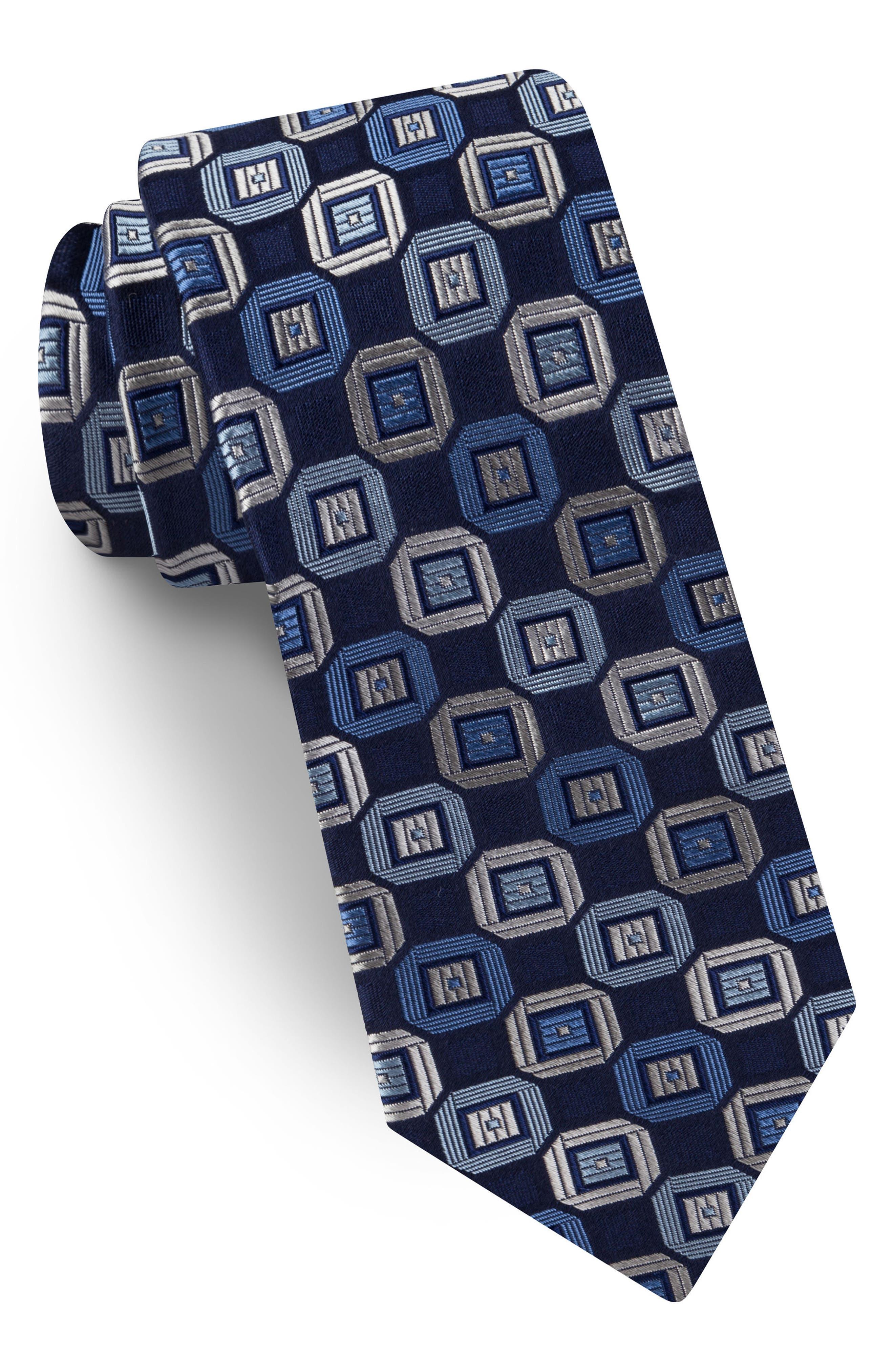 Geometric Silk Tie,                         Main,                         color, 411
