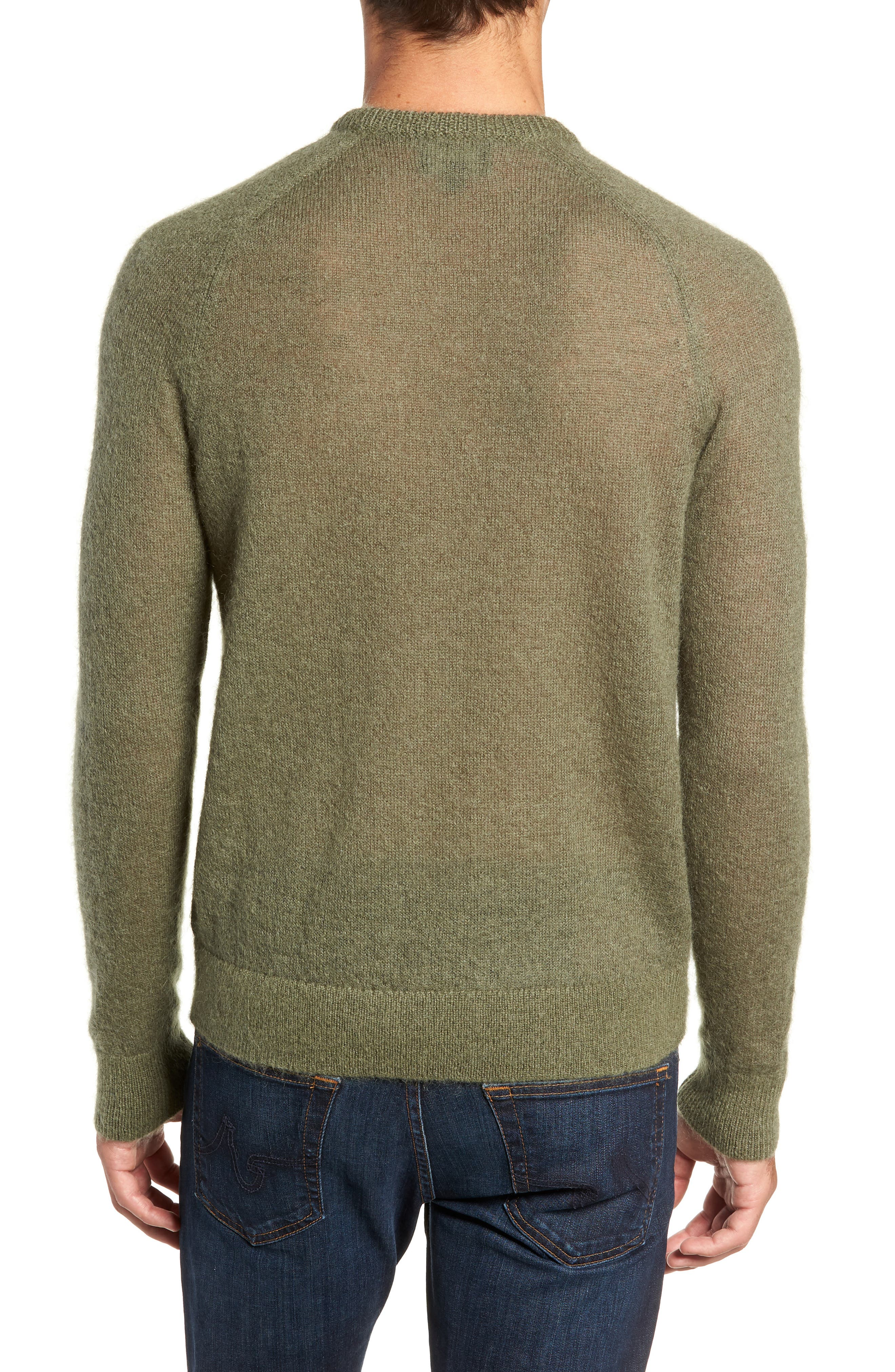 Mohair Blend Crewneck Sweater,                             Alternate thumbnail 2, color,                             DARK OLIVE