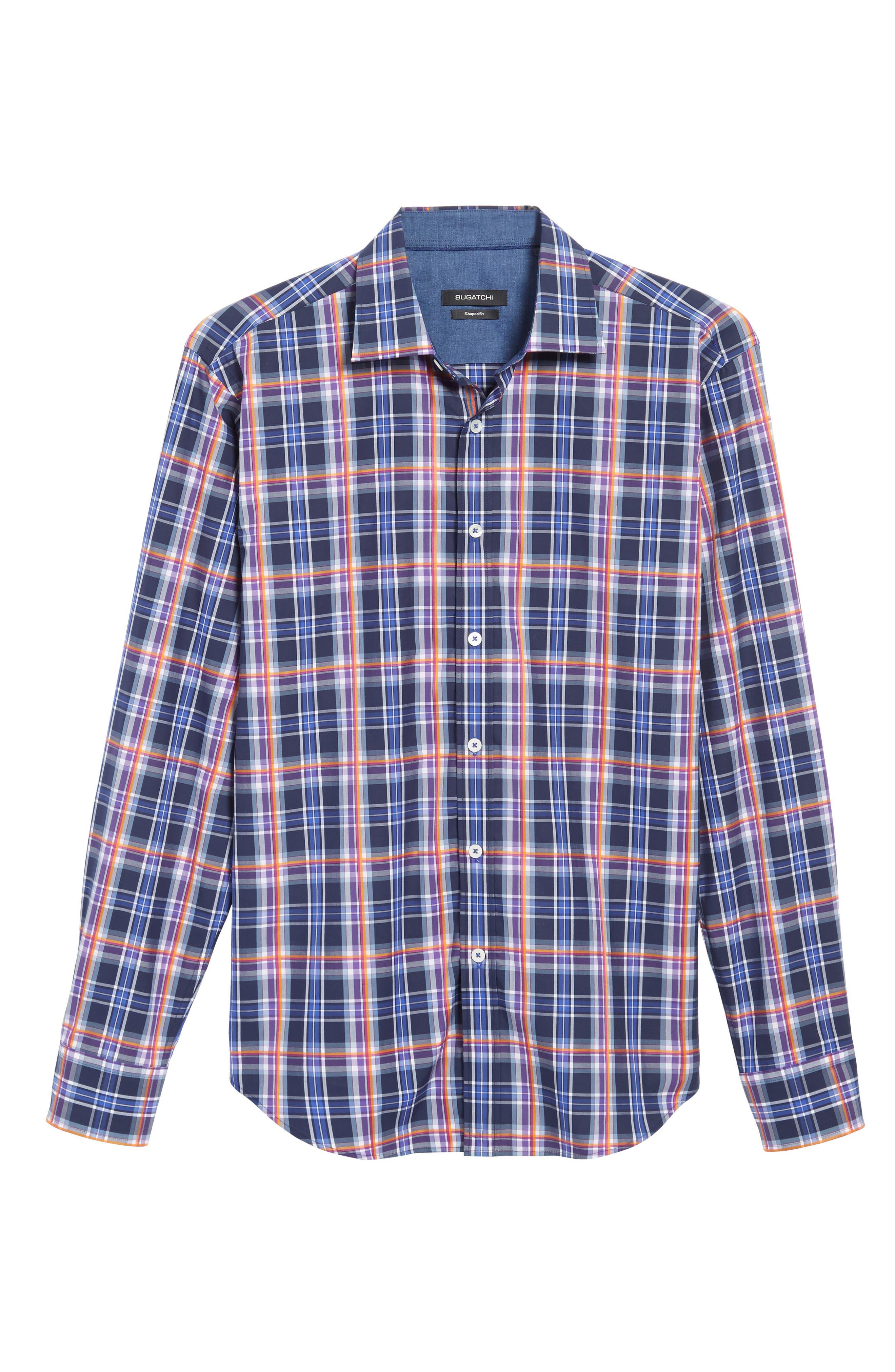 Slim Fit Madras Plaid Sport Shirt,                             Alternate thumbnail 6, color,                             411