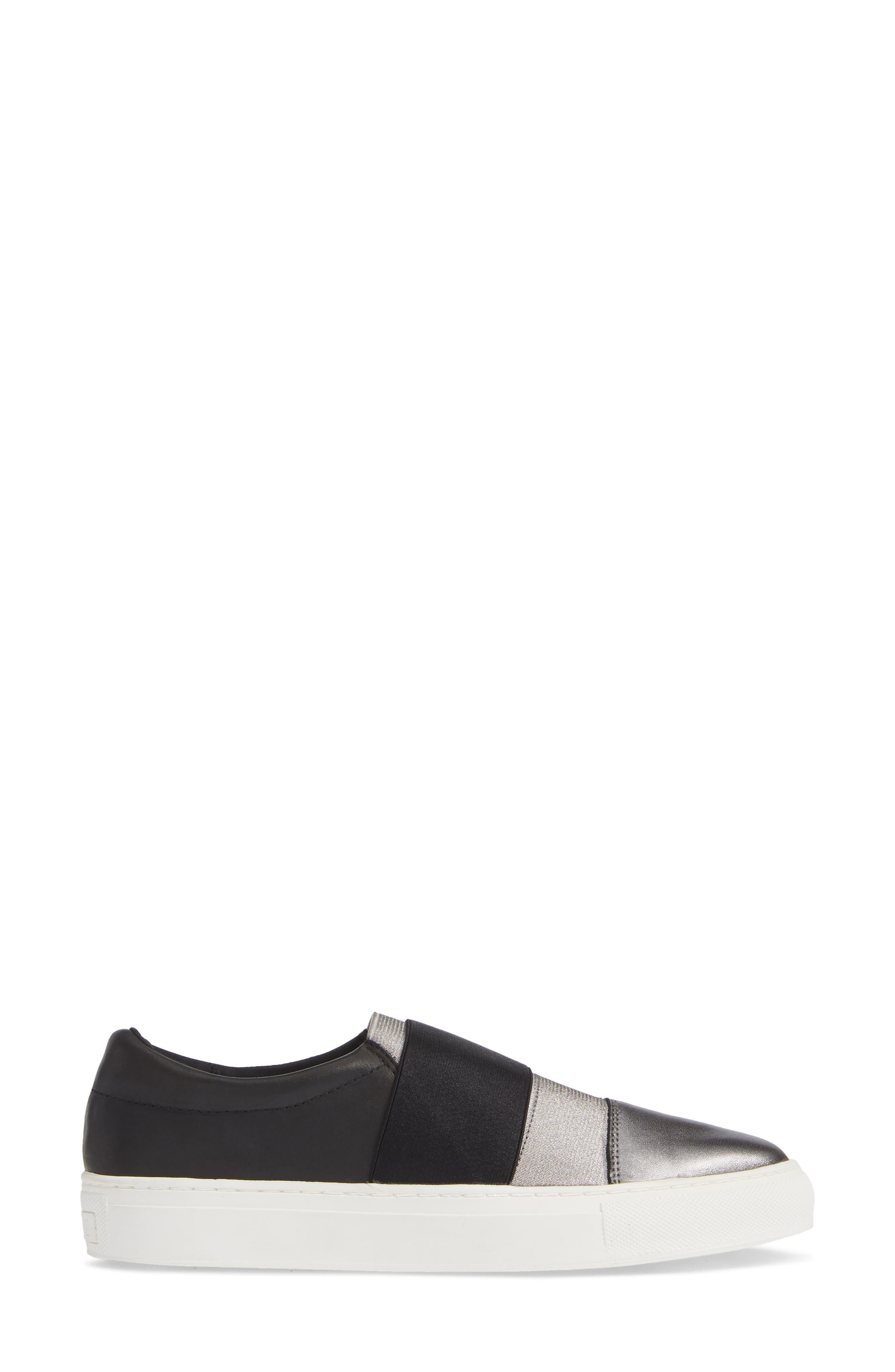 Isla Slip-On Sneaker,                             Alternate thumbnail 3, color,                             GUNMETAL/ BLACK LEATHER