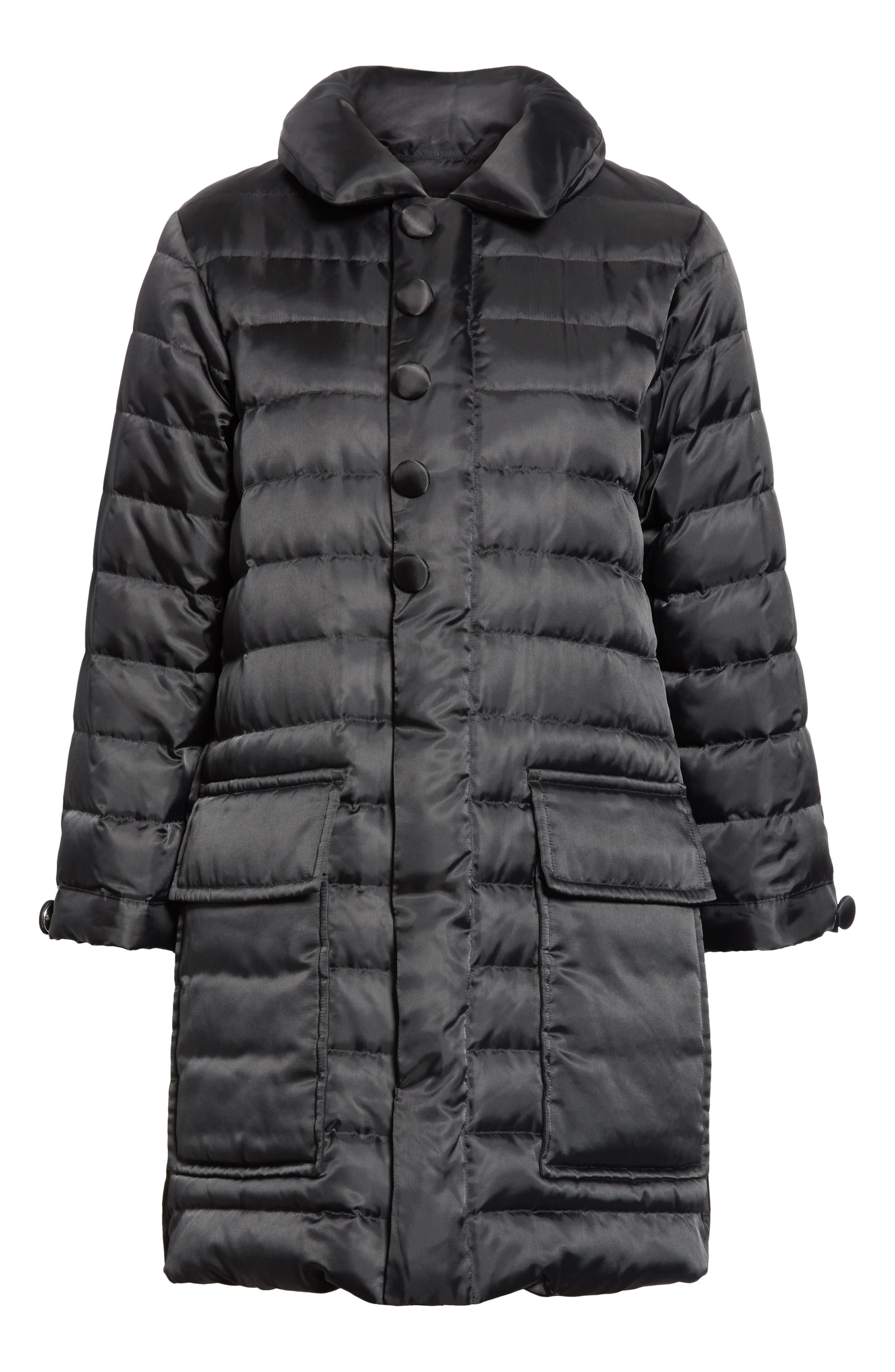 Quilted Down Coat,                             Alternate thumbnail 5, color,                             BLACK