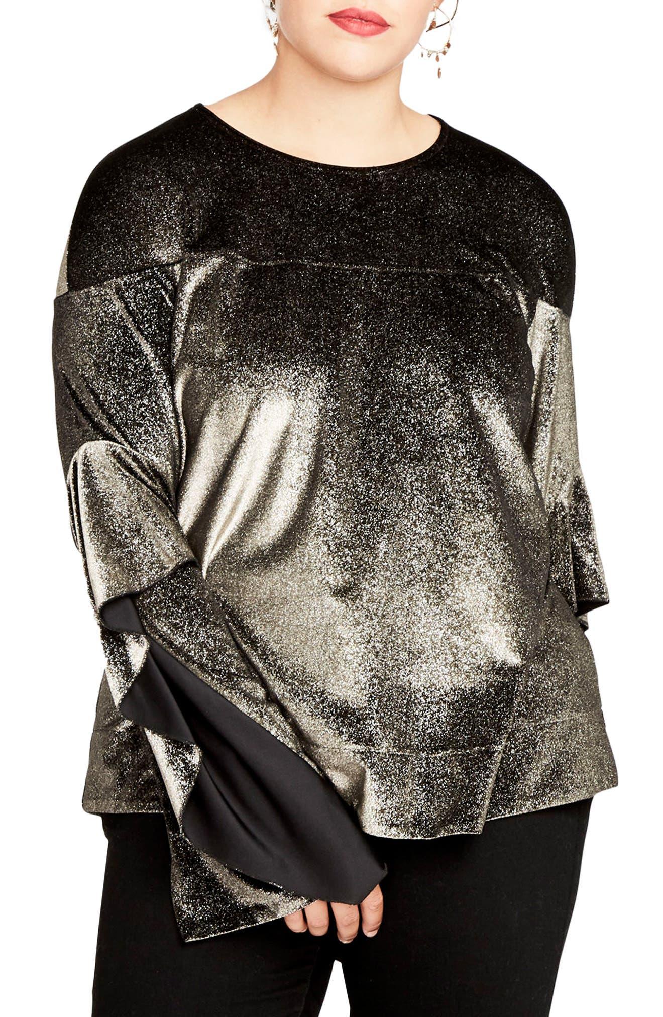 Ruffle Sleeve Metallic Sweatshirt,                             Main thumbnail 1, color,                             223