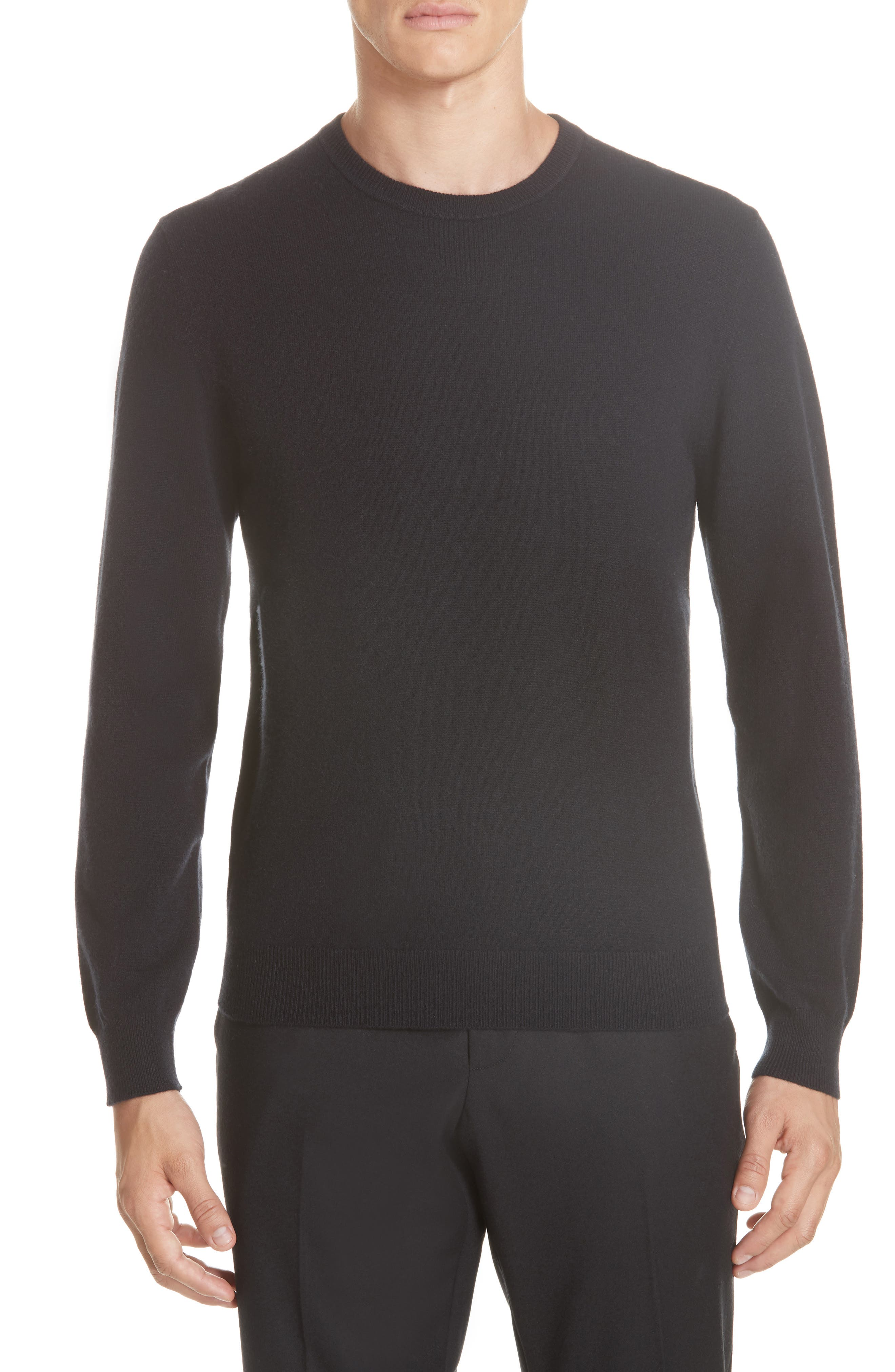 Cashmere Blend Crewneck Sweater,                         Main,                         color, BLACK
