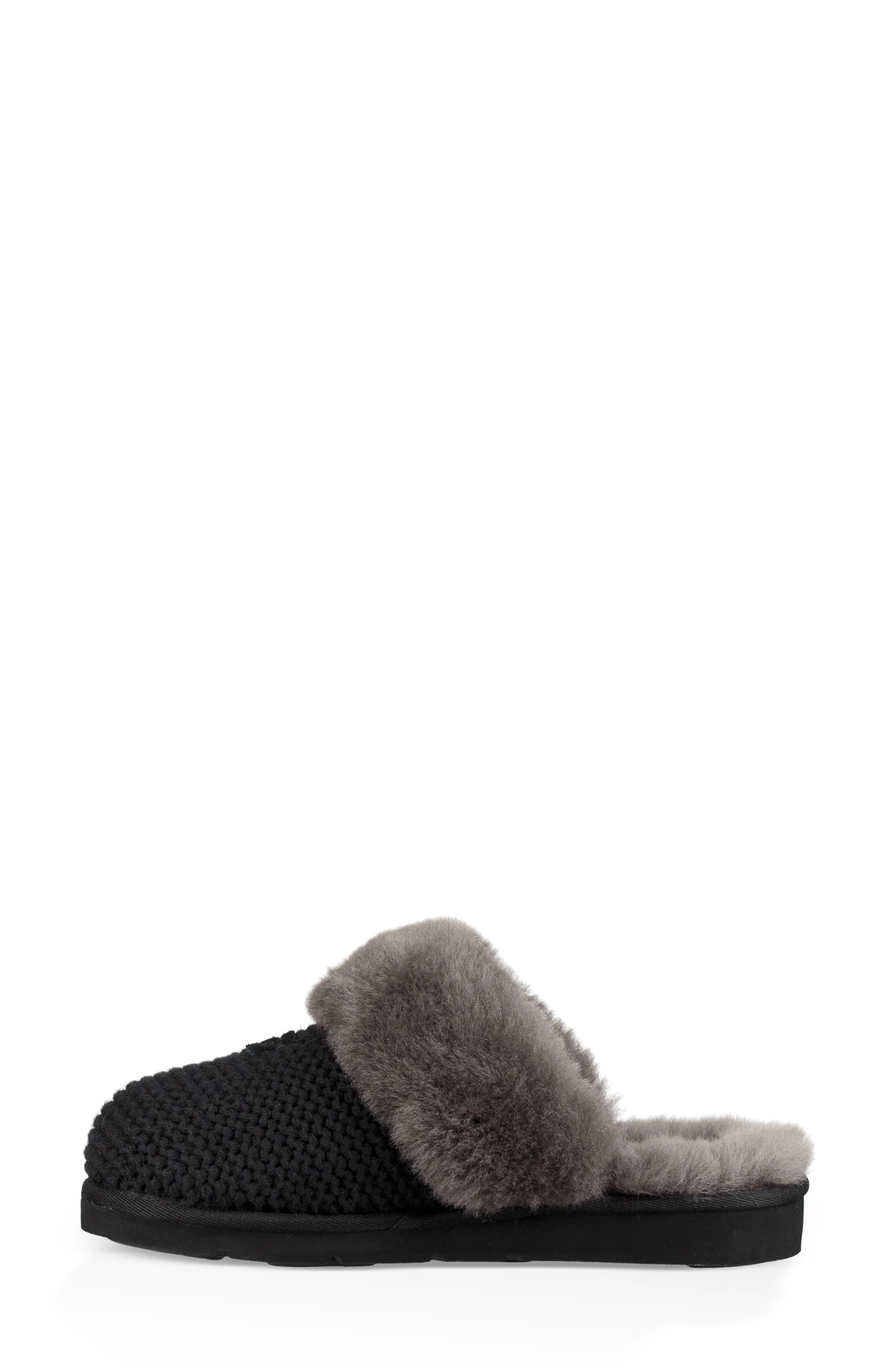 Cozy Knit Genuine Shearling Slipper,                             Alternate thumbnail 6, color,                             BLACK