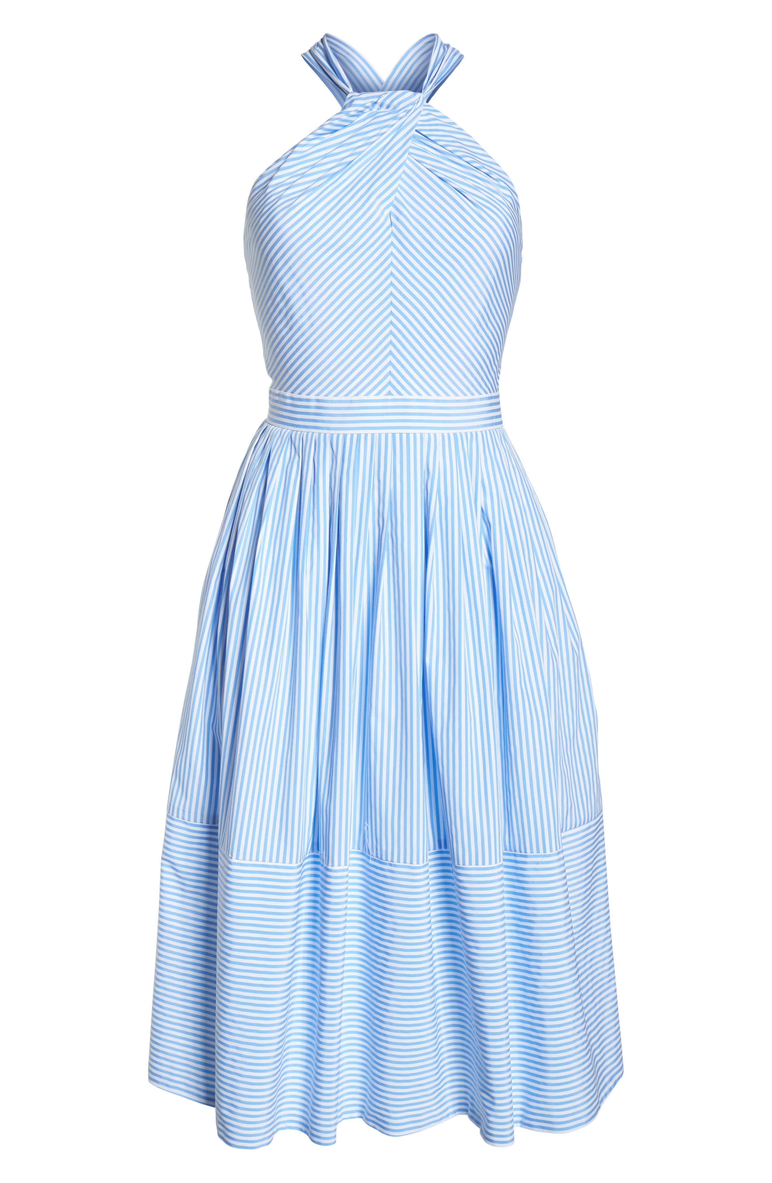 Claire Stripe Halter Dress,                             Alternate thumbnail 7, color,                             461