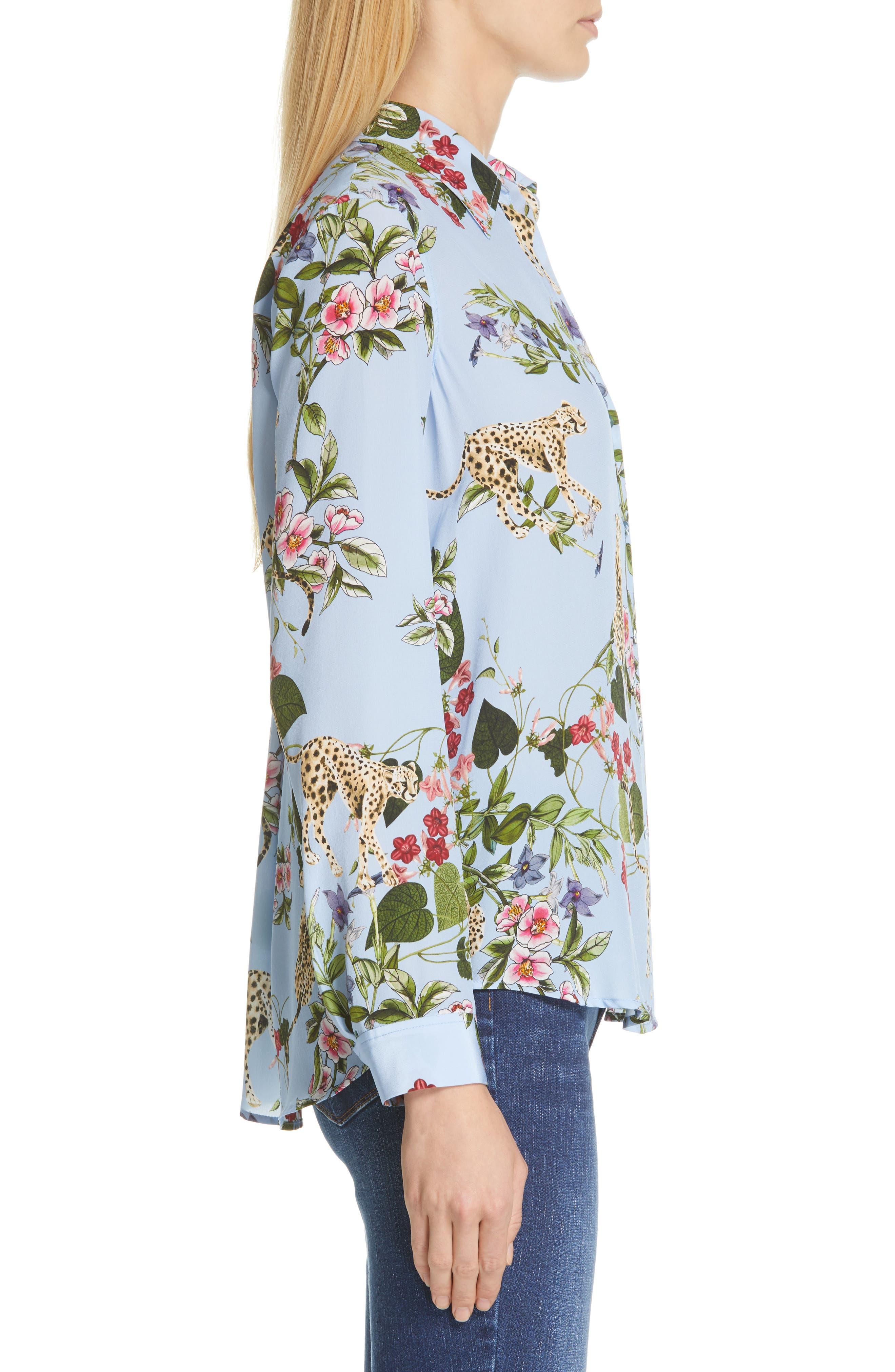 Nina Cheetah & Floral Print Silk Blouse,                             Alternate thumbnail 3, color,                             SKY BLUE MULTI