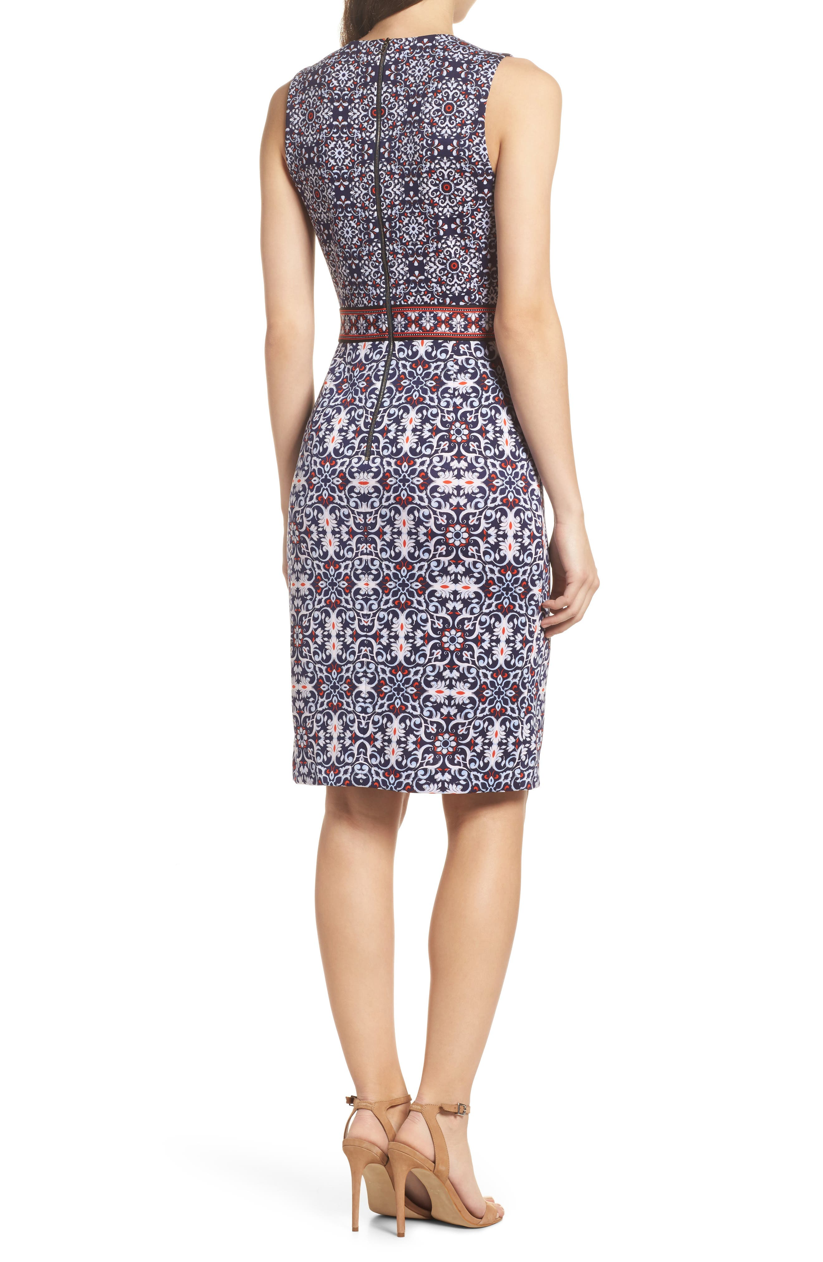 Printed Scissor Front Sleeveless Dress,                             Alternate thumbnail 2, color,                             490