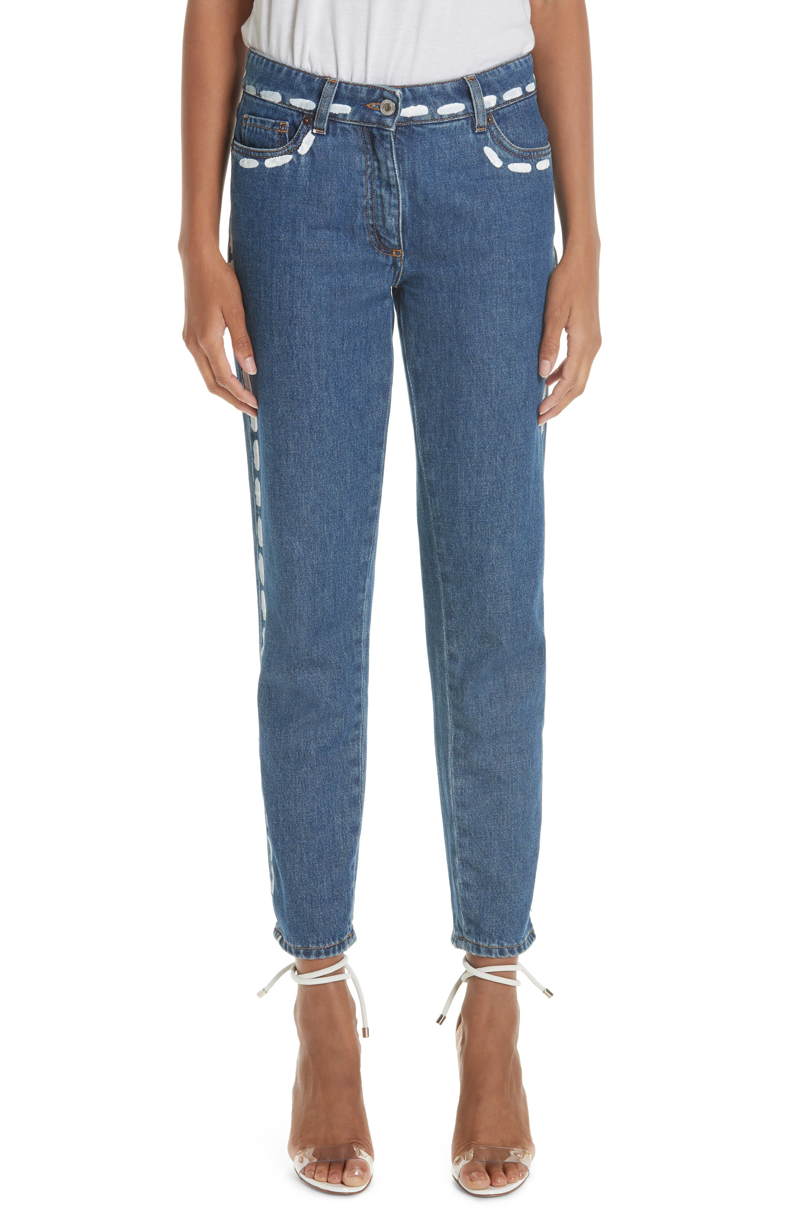 MOSCHINO,                             Dotted Line Straight Leg Jeans,                             Main thumbnail 1, color,                             DENIM