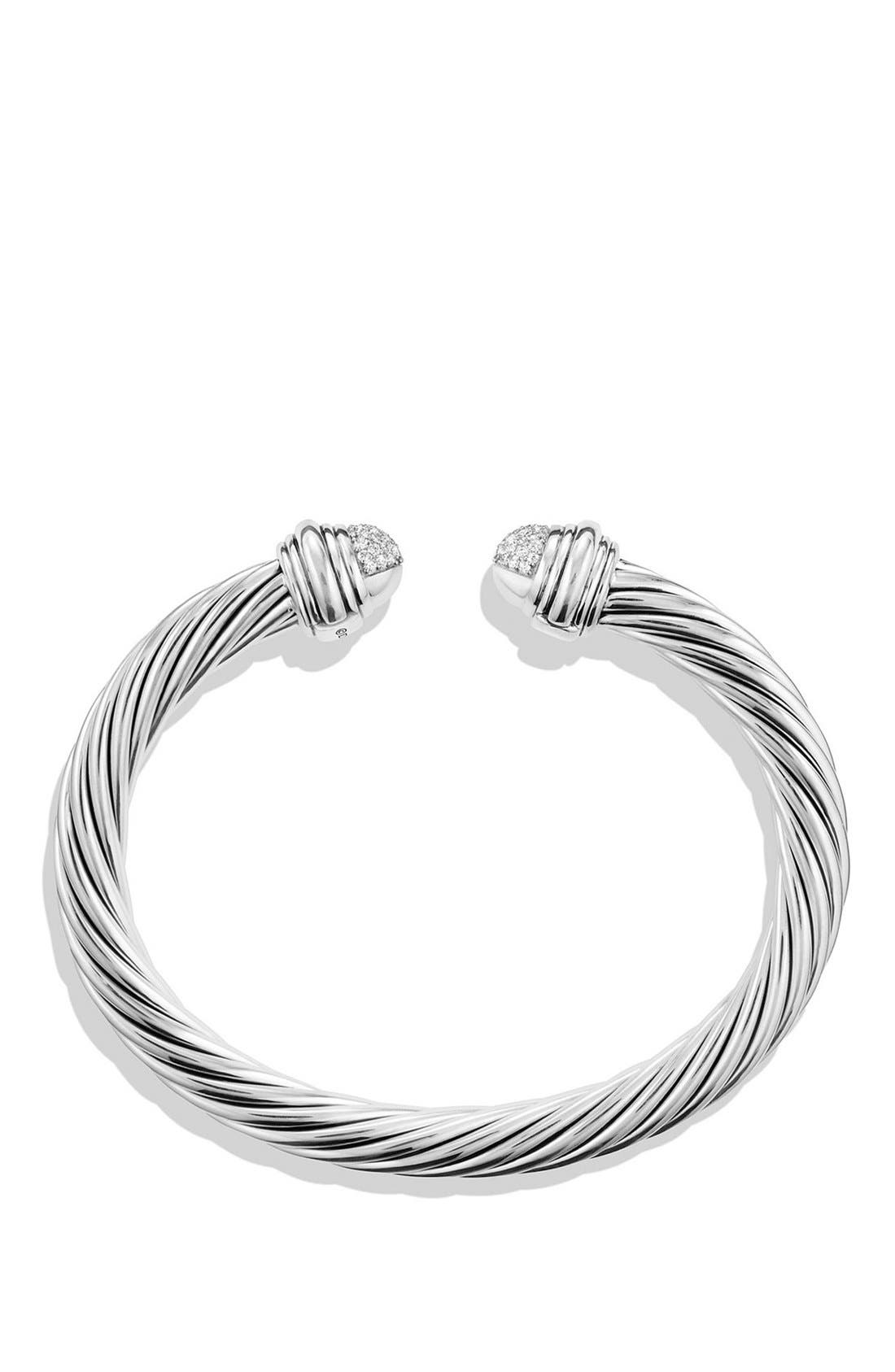 Cable Classics Bracelet with Black Diamonds, 7mm,                             Alternate thumbnail 2, color,                             SILVER