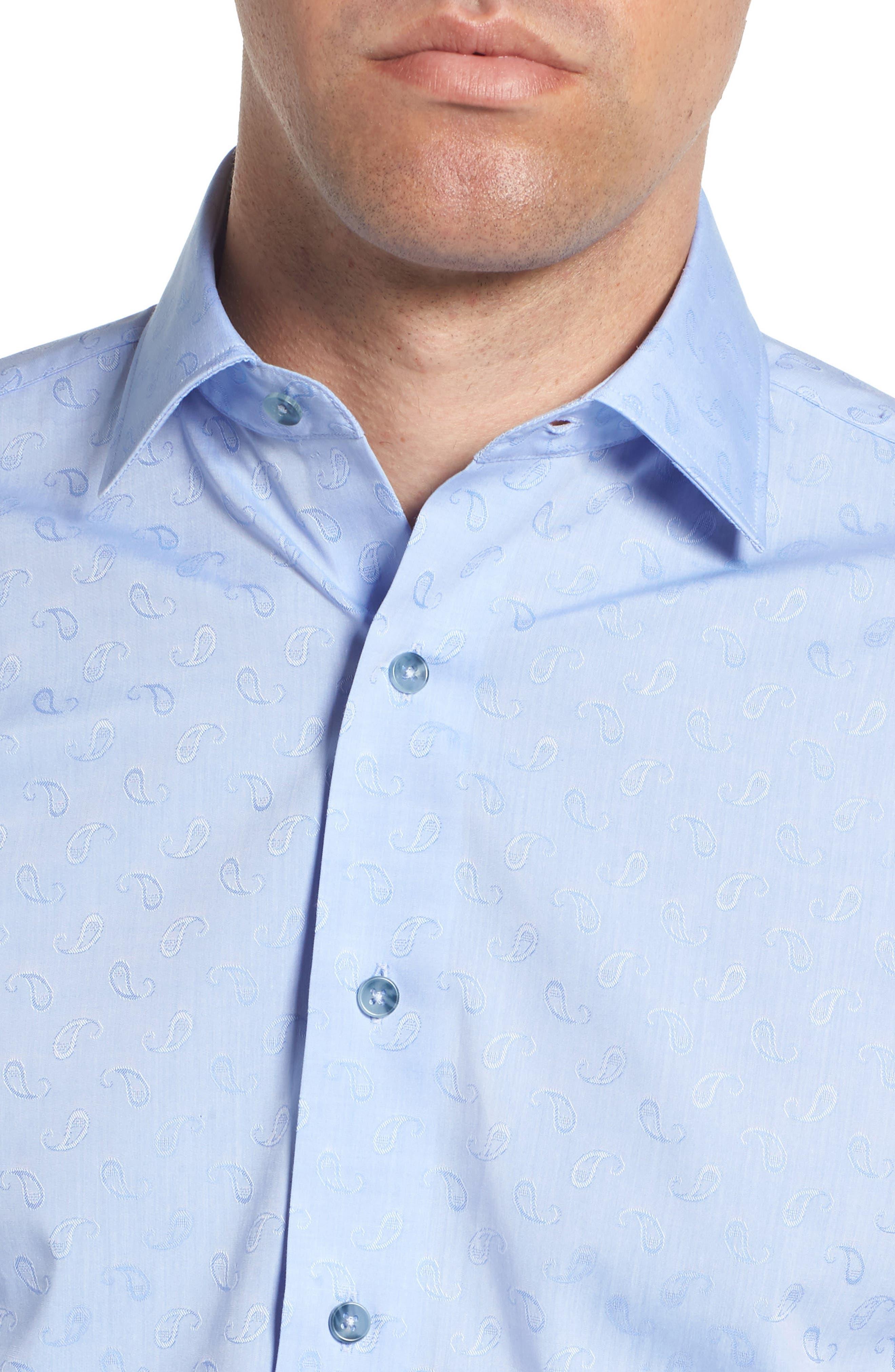 Trim Fit Paisley Dress Shirt,                             Alternate thumbnail 2, color,                             LIGHT BLUE