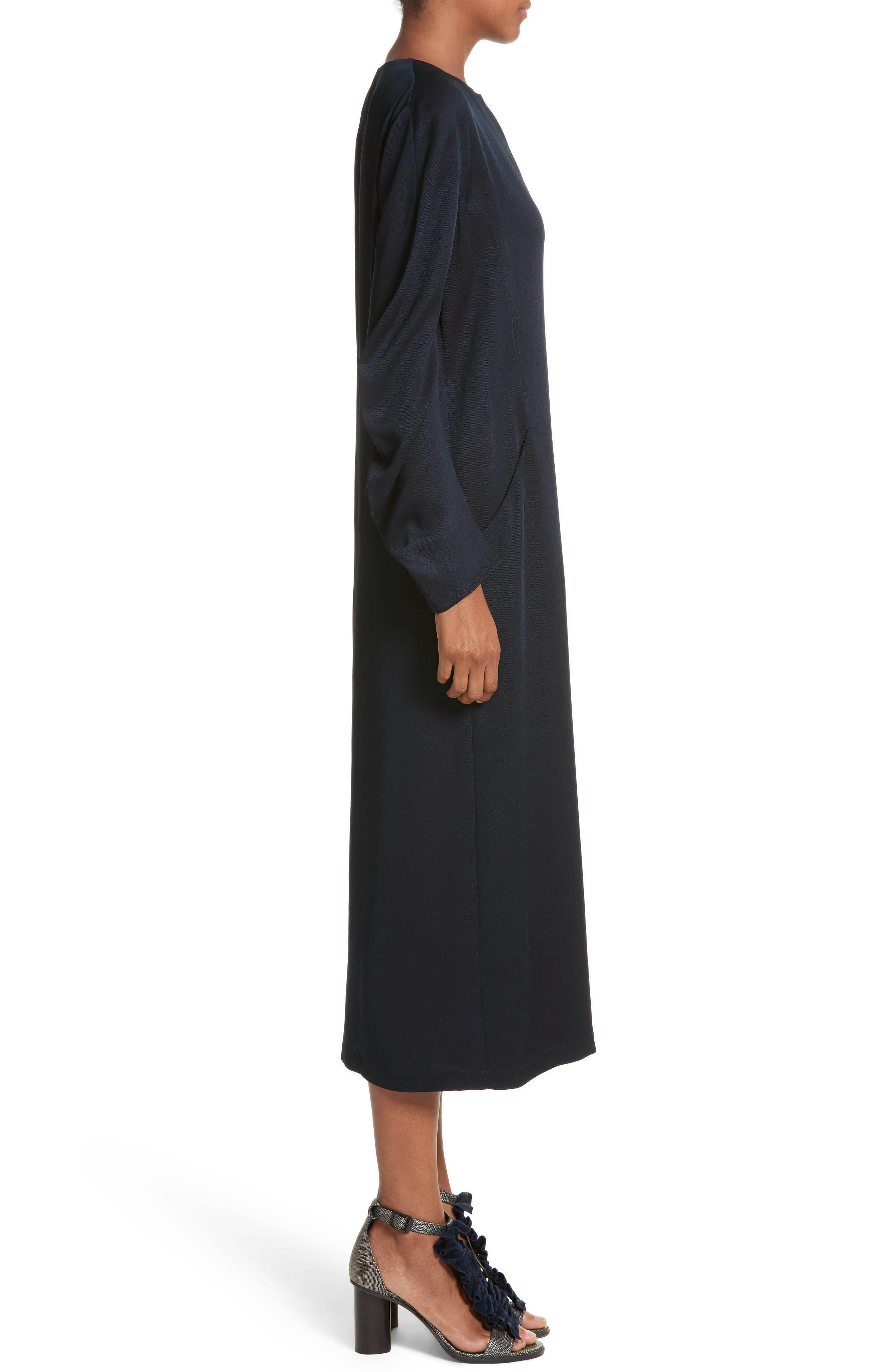 Eco Drape Midi Dress,                             Alternate thumbnail 3, color,                             007