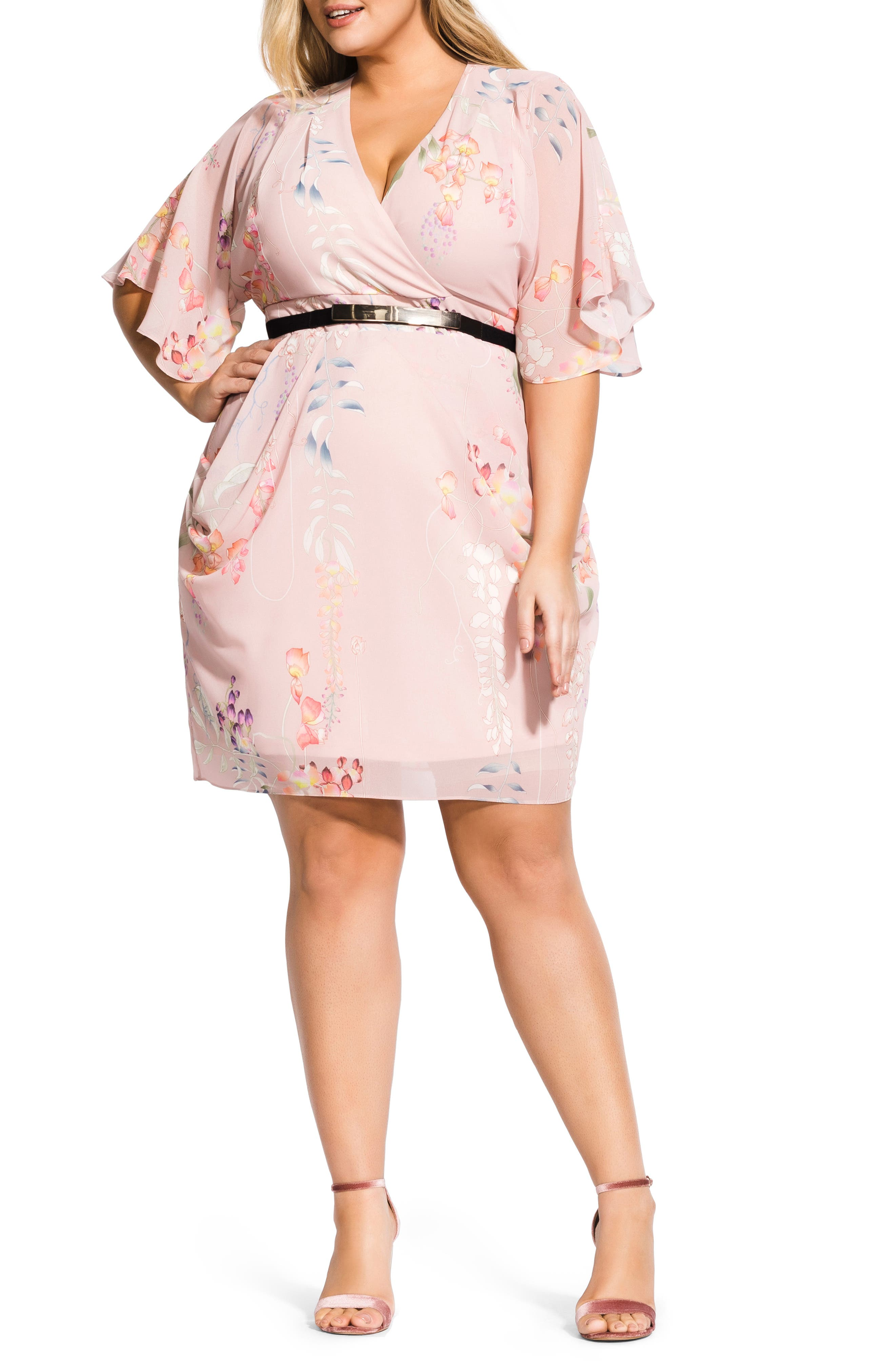 Plus Size City Chic Blushing Vine Wrap Dress, Pink