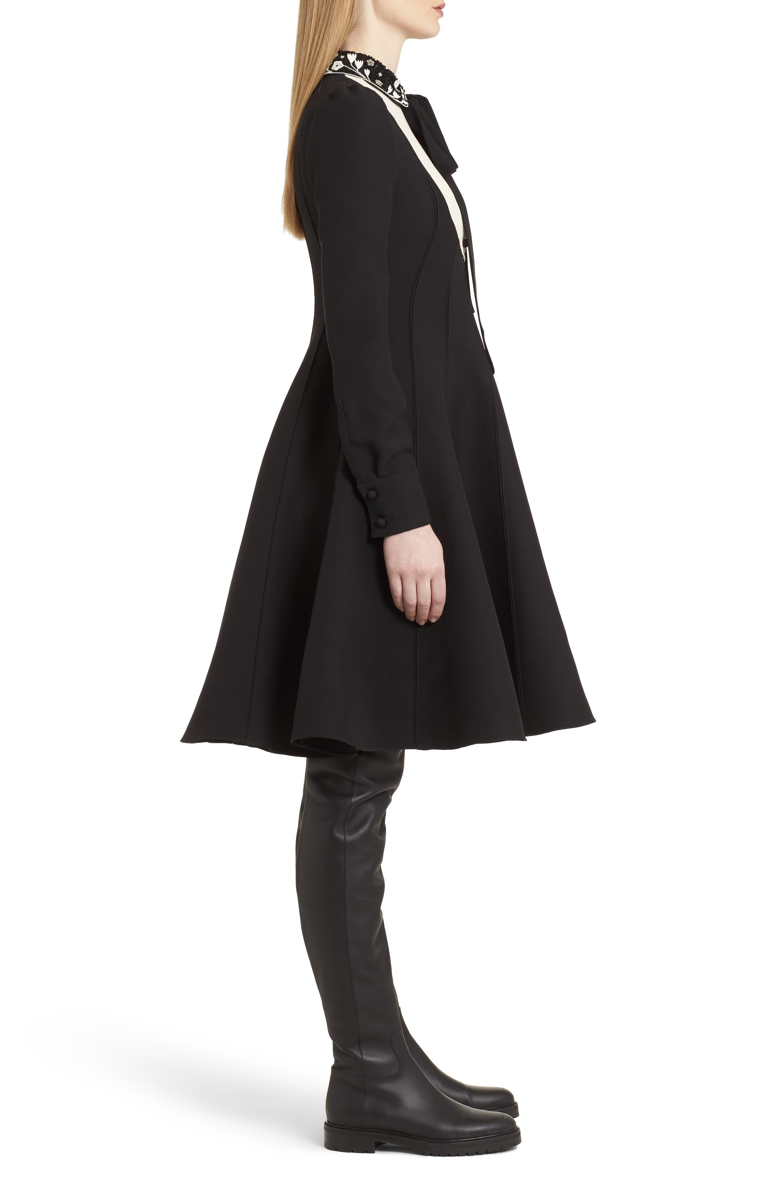 Bib Front Wool & Silk Dress,                             Alternate thumbnail 3, color,                             003