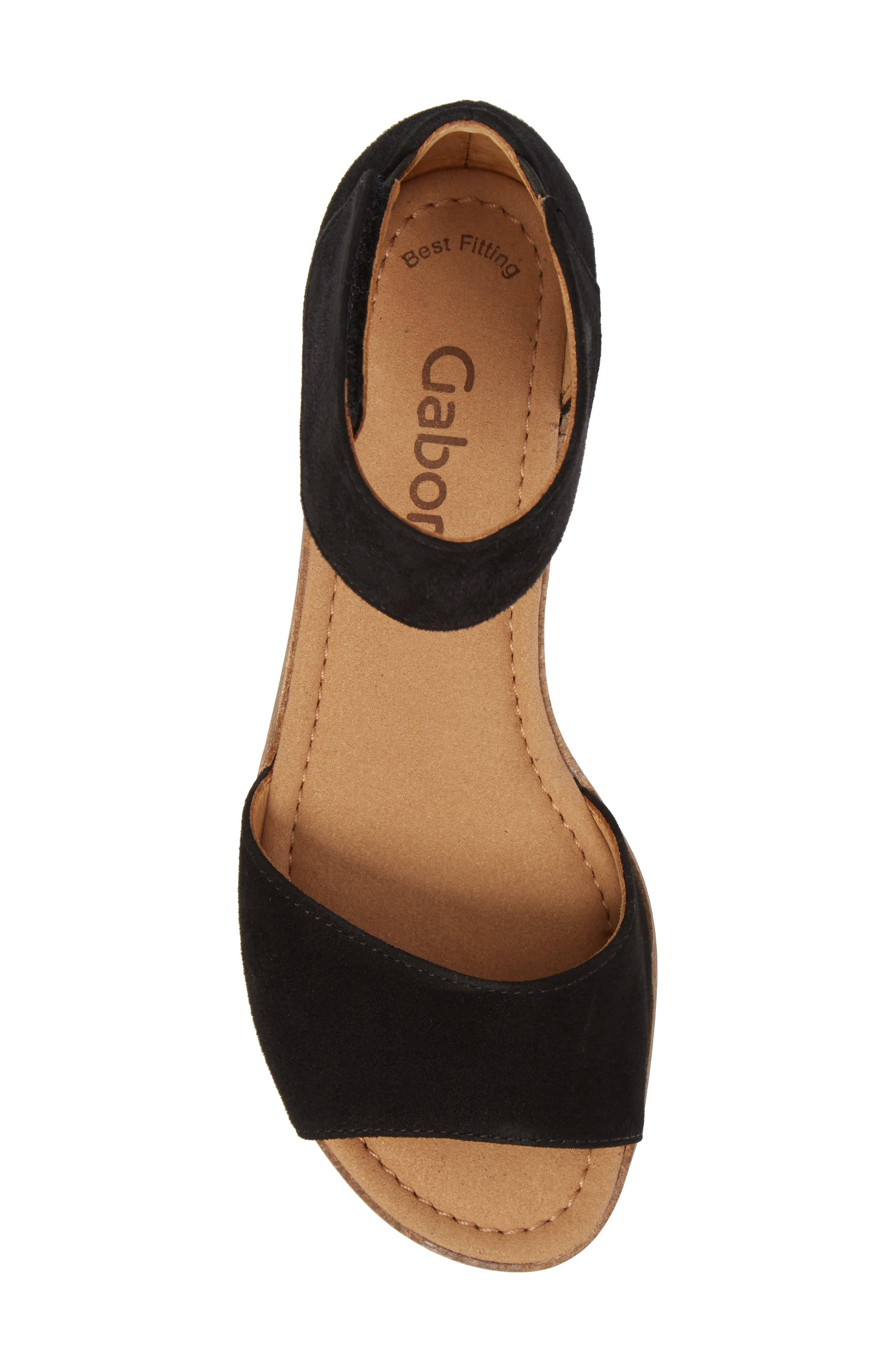 Ankle Strap Sandal,                             Alternate thumbnail 5, color,                             BLACK SUEDE