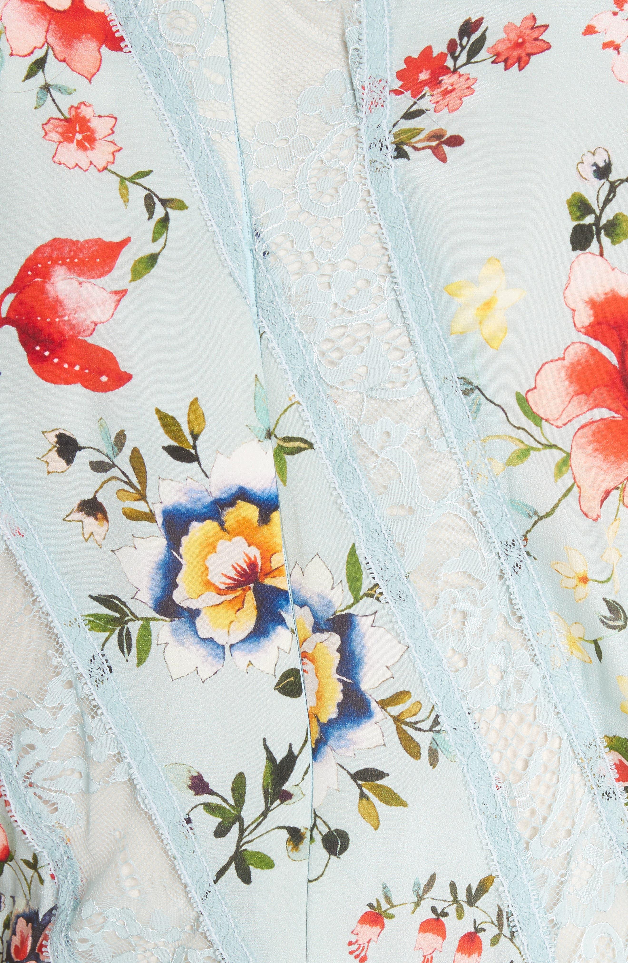 Kadence Ruffled Silk & Lace Midi Dress,                             Alternate thumbnail 5, color,