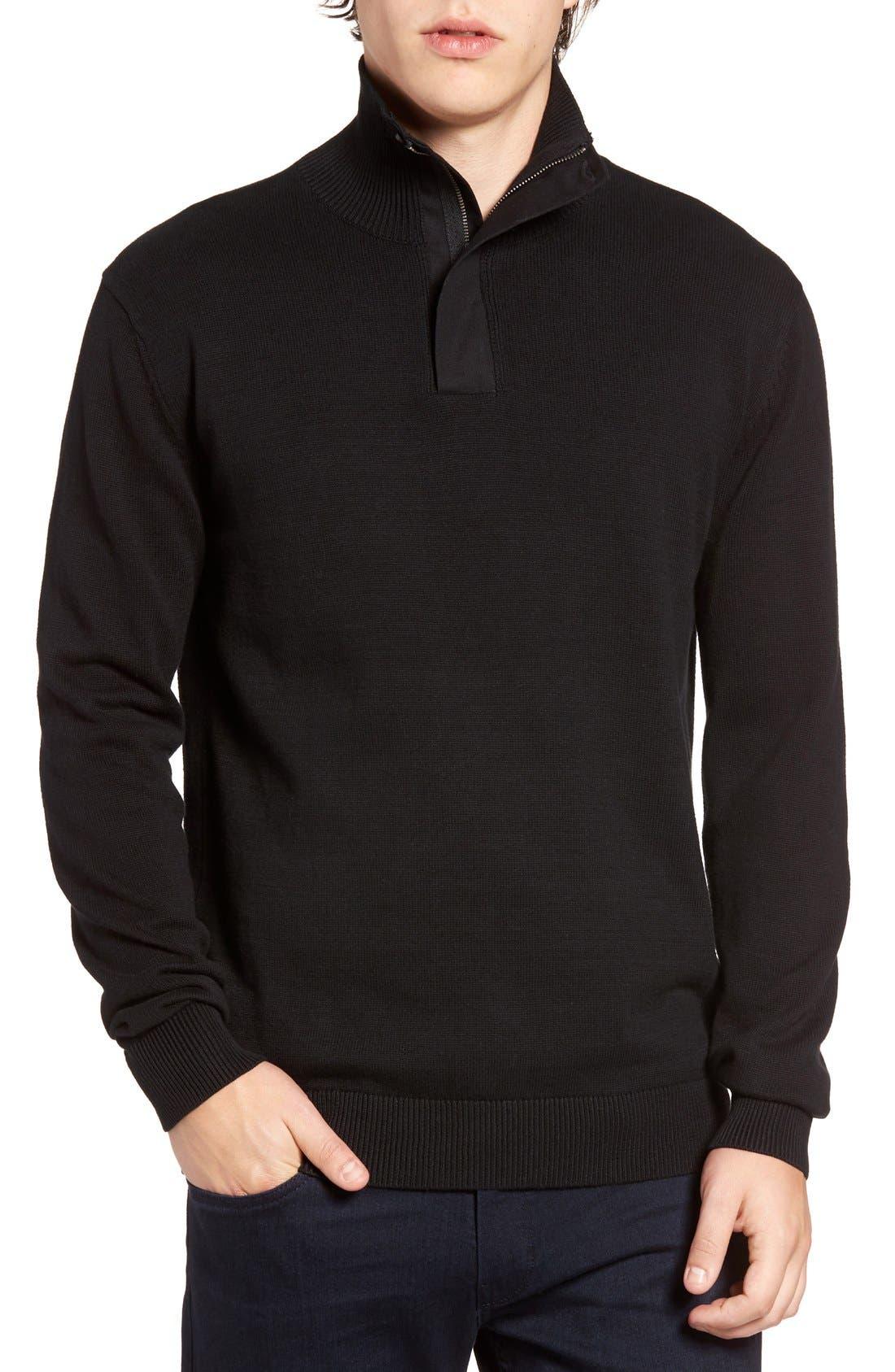 Quarter Zip Sweater,                             Main thumbnail 1, color,                             001